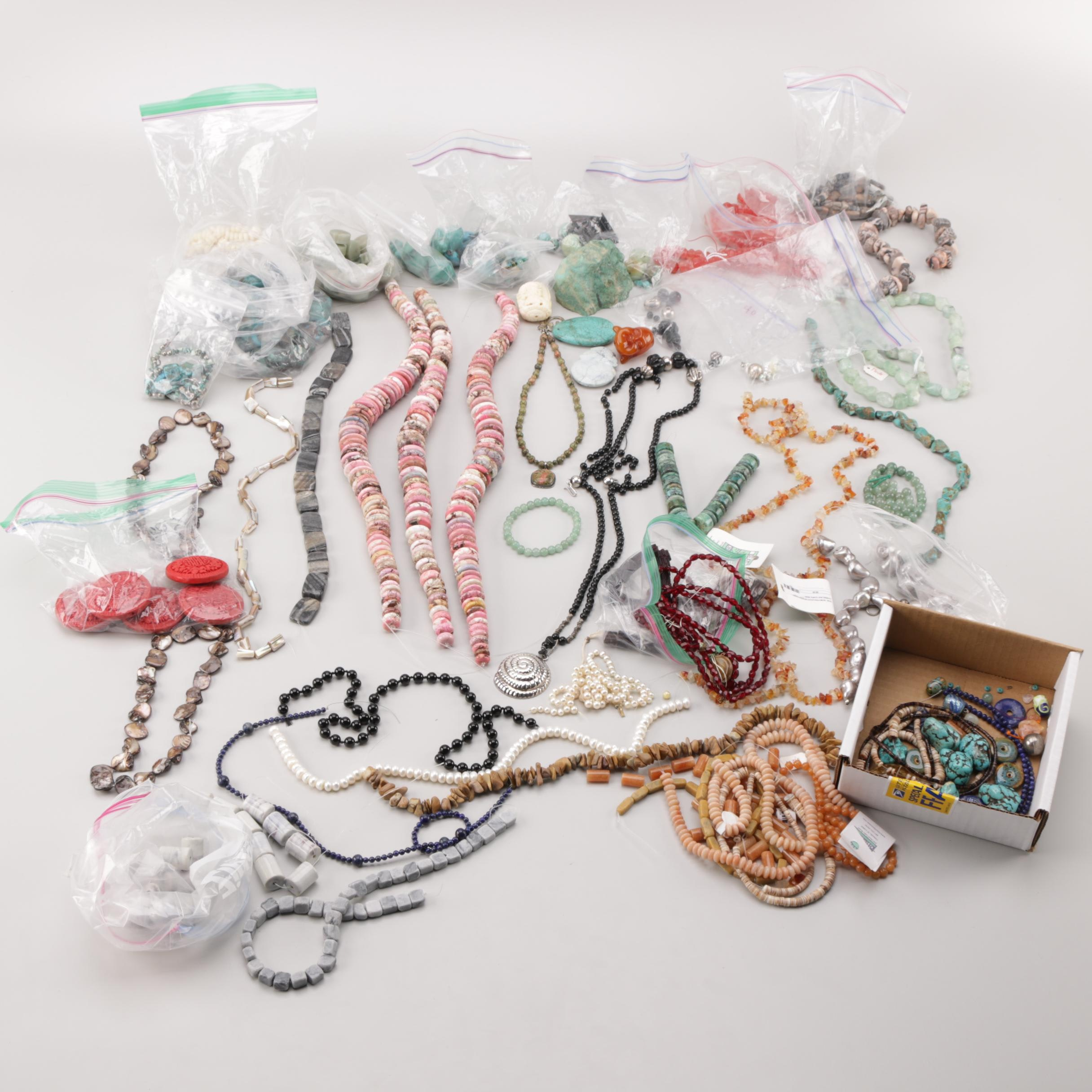 Assortment of Silver Tone and Gemstone Beads Including Turquoise