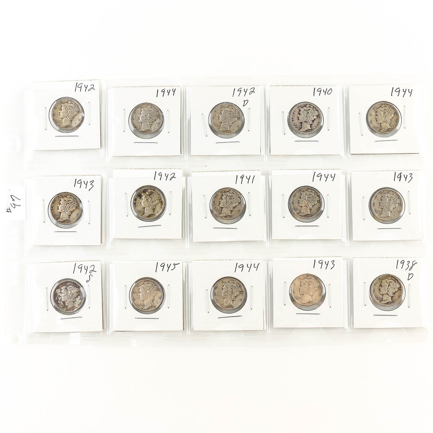 Collection of Mercury Dimes 1938-1945