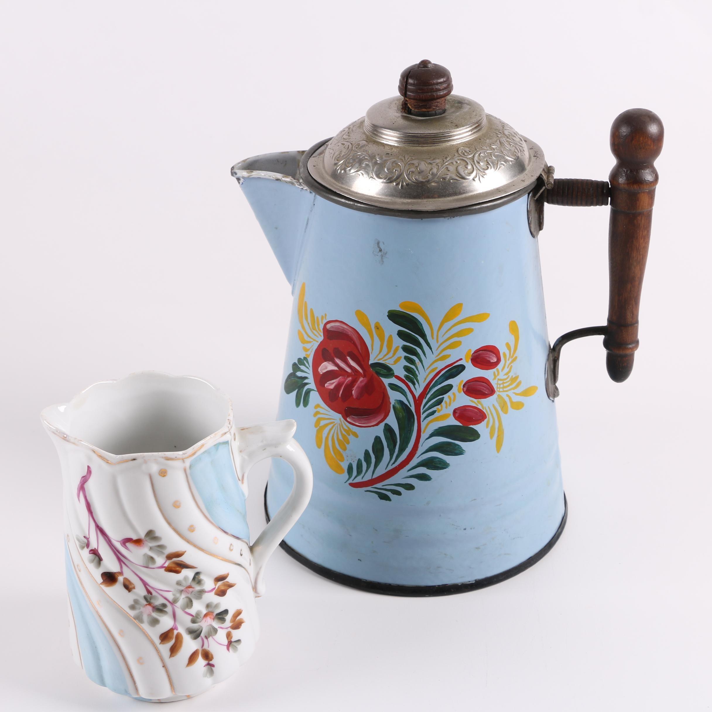 Vintage Enameled Coffee Pot and German Porcelain Jug