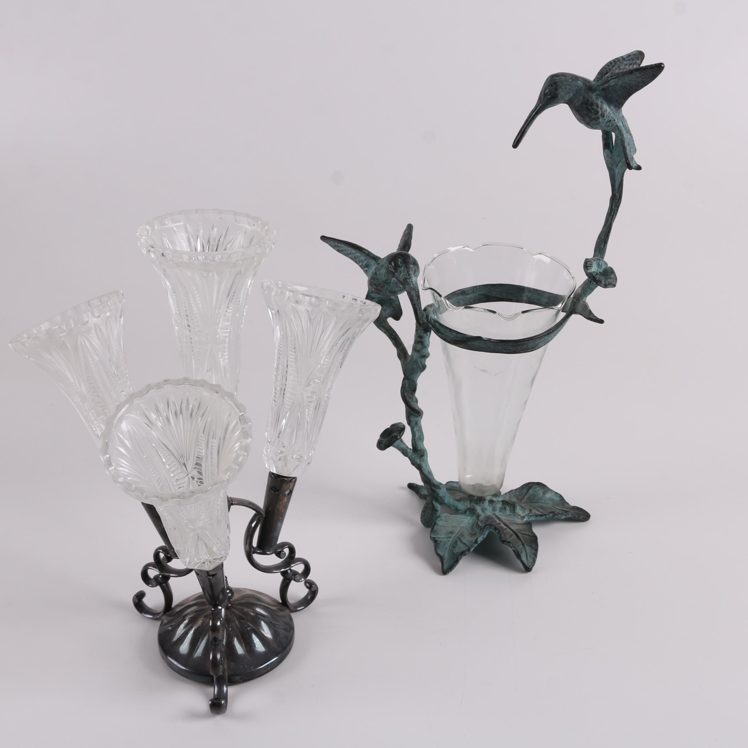 Victorian Style Epergne with a Mounted Hummingbird Motif Vase