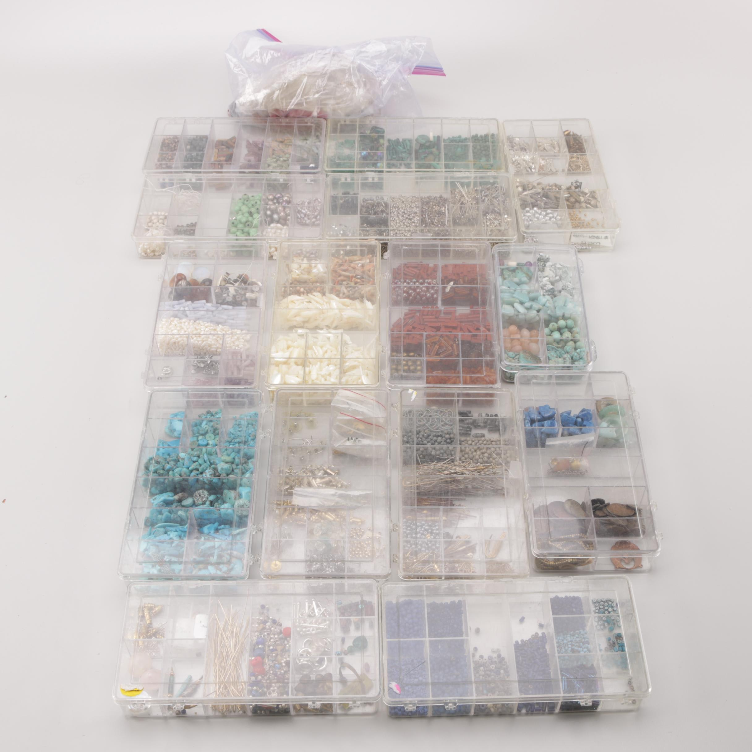 Assortment of Jewelry Making Supplies Including Gemstone and Turquoise Beads