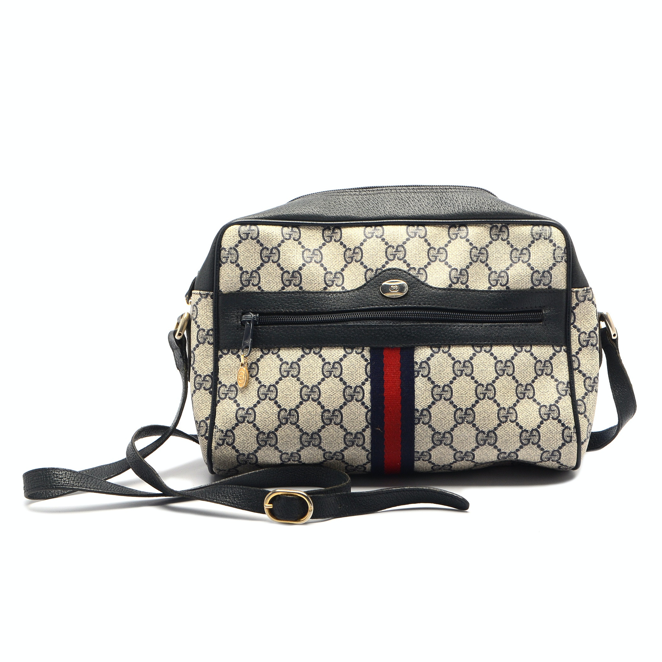 Vintage Gucci Accessory Collection GG Canvas and Leather Handbag