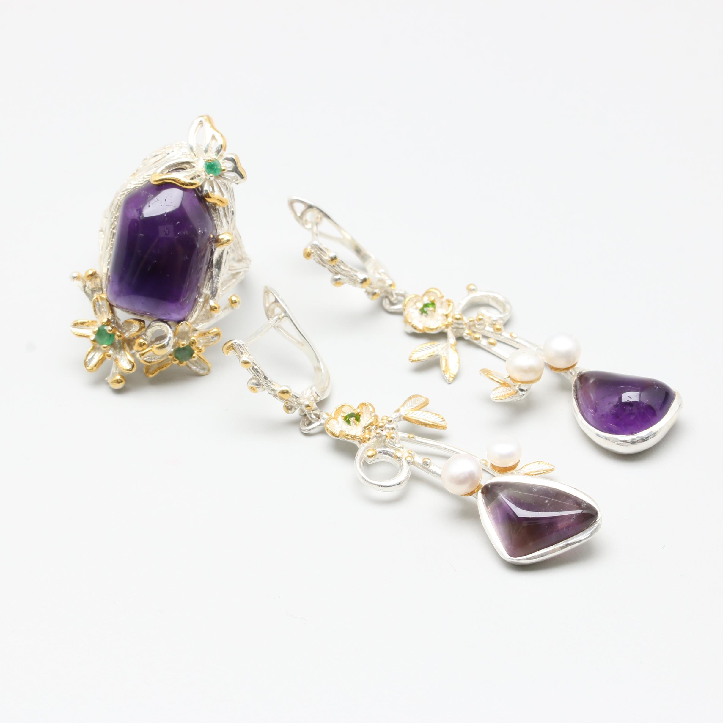 Sterling Silver Gemstone Jewelry Including Amethyst and Gold Wash Accents