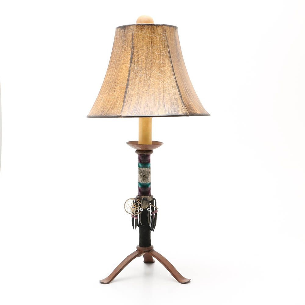 Cast Iron Embellished Mexican Table Lamp