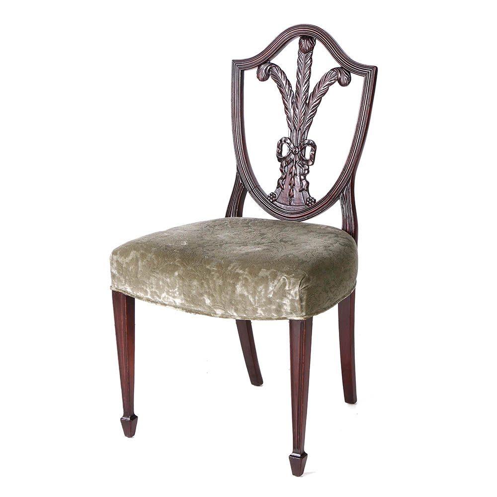 Vintage Hepplewhite Style Velveteen Upholstered Side Chair