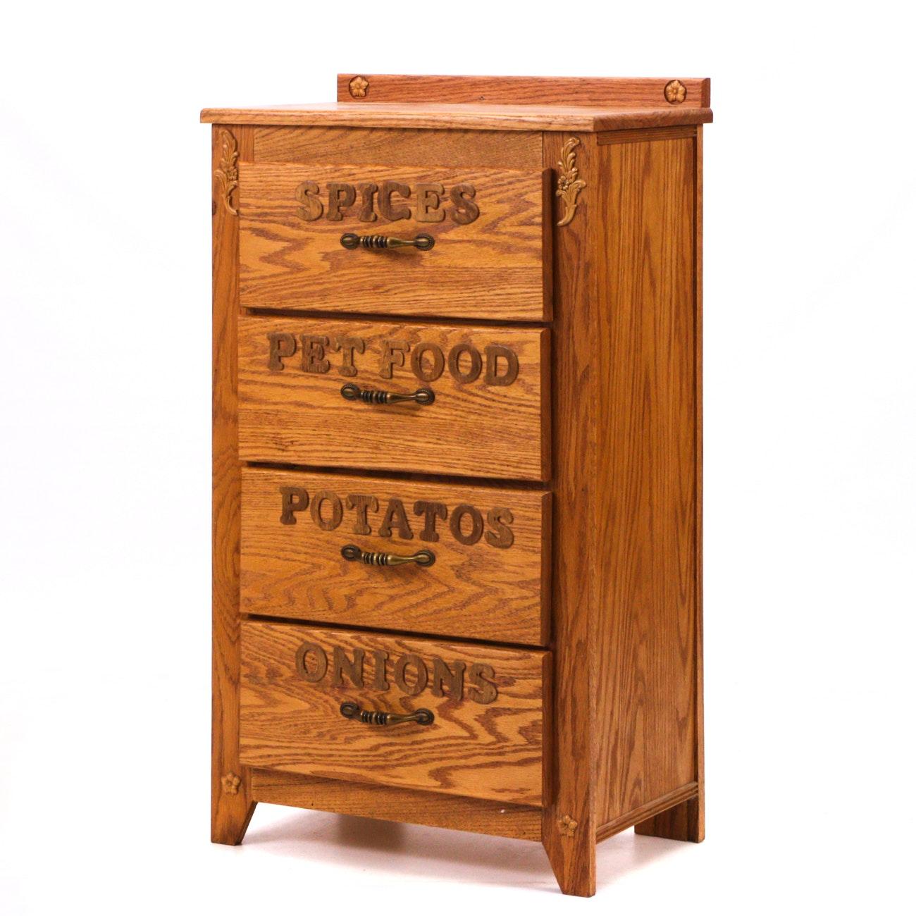 Bench Made Oak Kitchen Pantry Cabinet