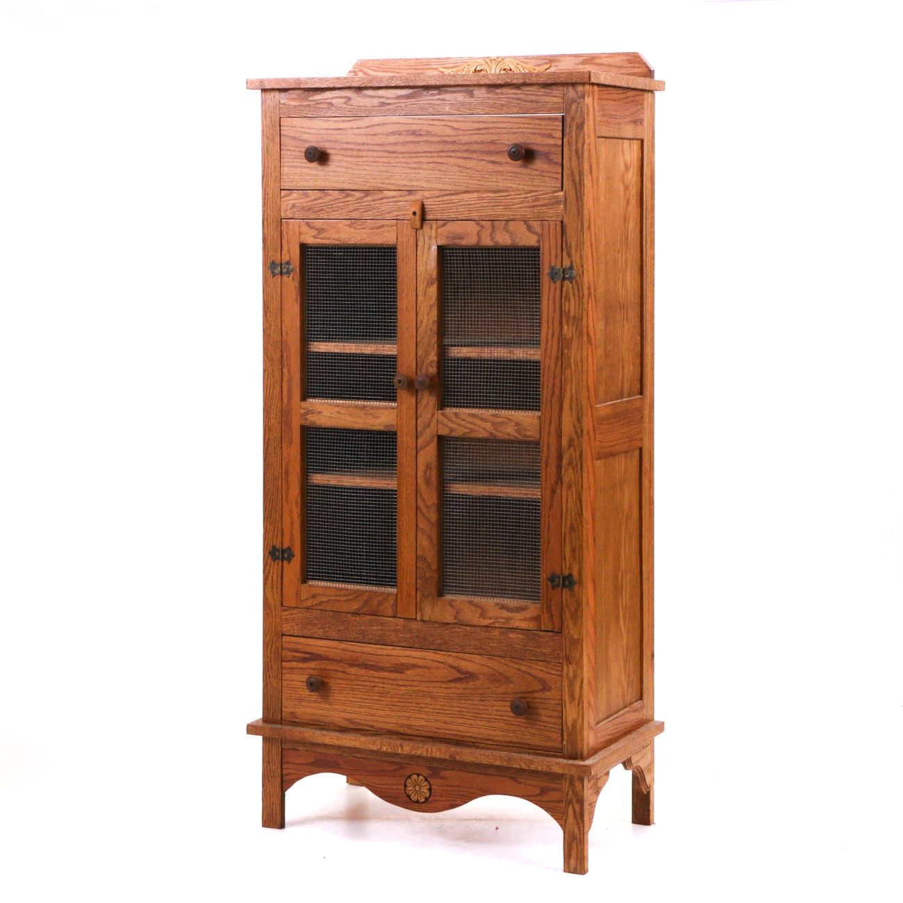 A Country Style Oak Cupboard with Wire Screen Doors