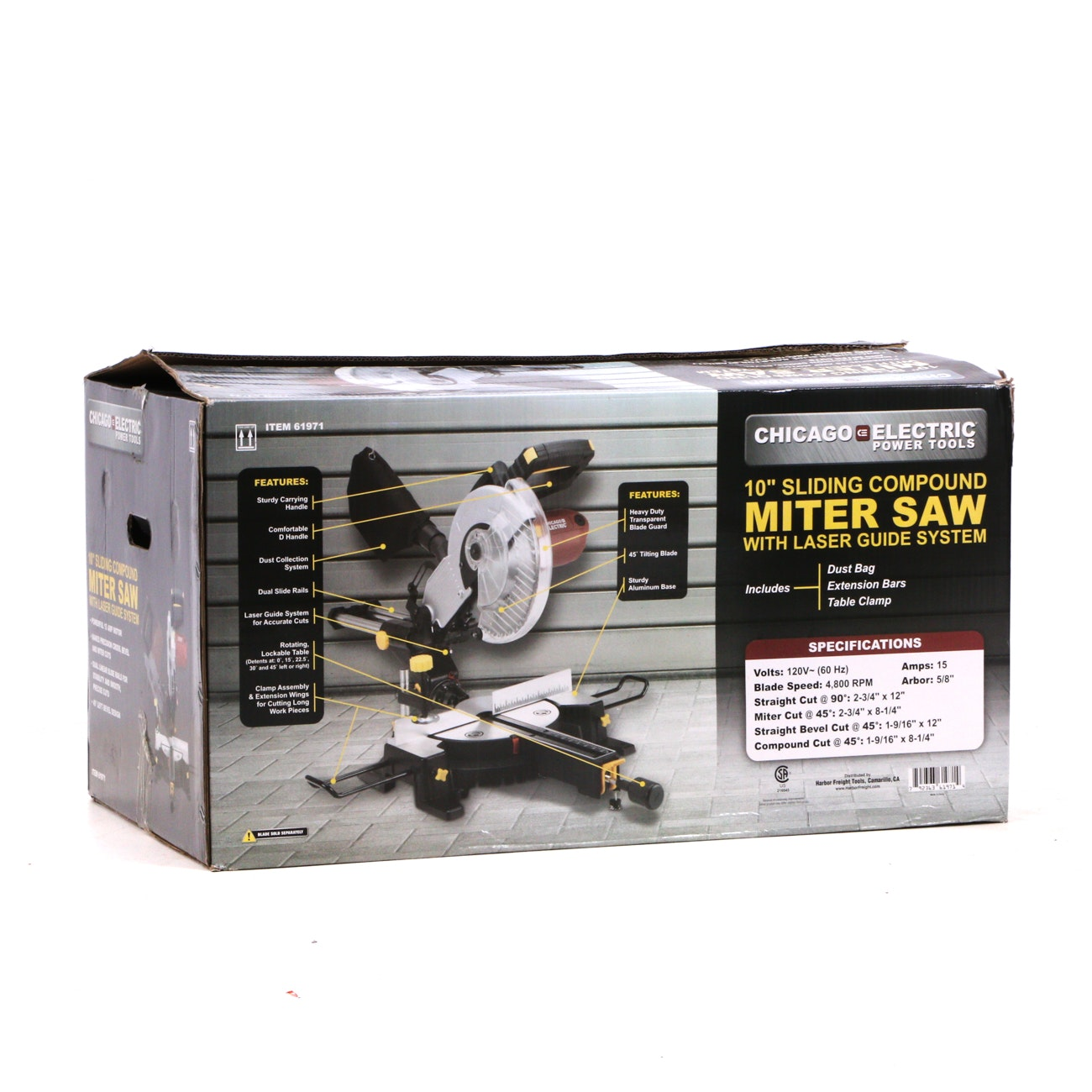 """10""""Sliding Compound Miter Saw with Laser Guide System by Chicago Electric"""