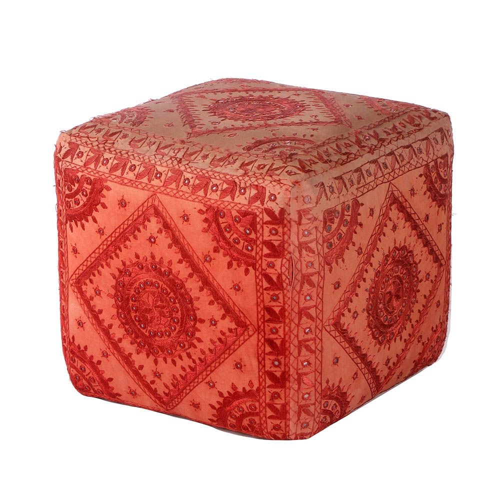Embroidered Indian Tapestry Footstool