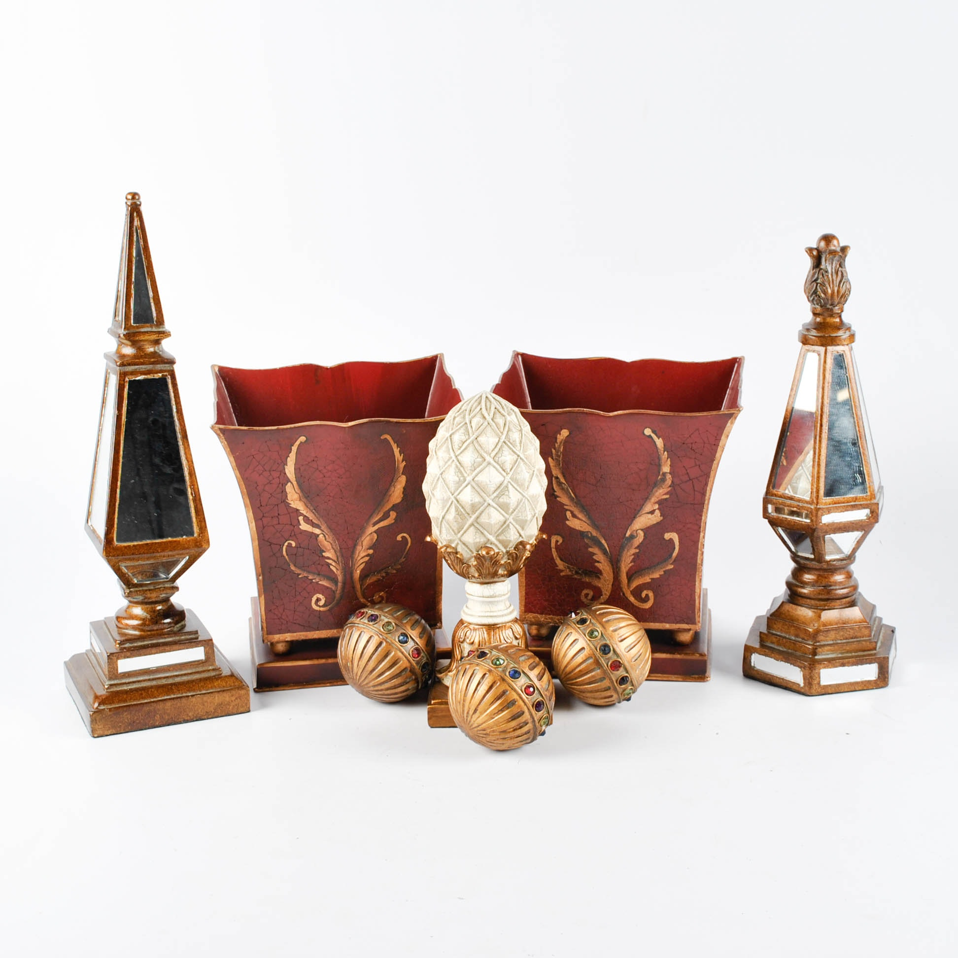 Decorative Mirrored Finials, Pineapple Finial, Orbs, and Cache Pots
