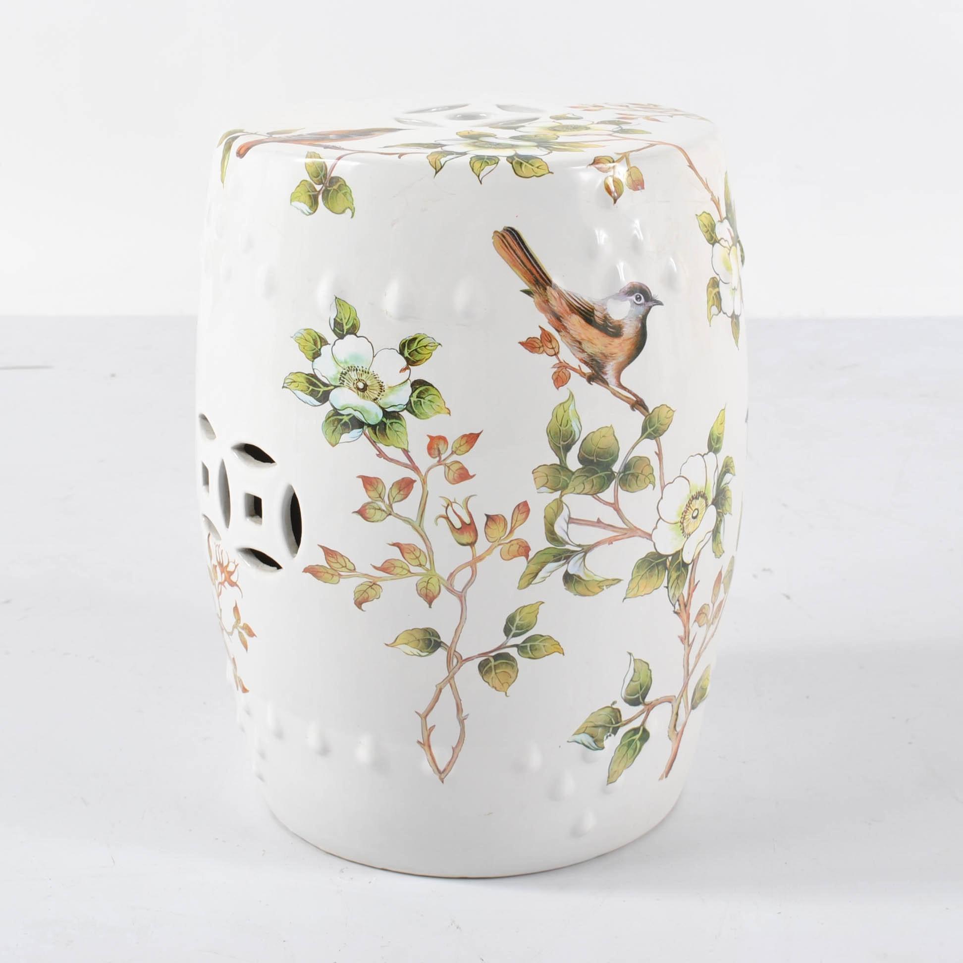 Chinese Floral Motif Ceramic Garden Stool