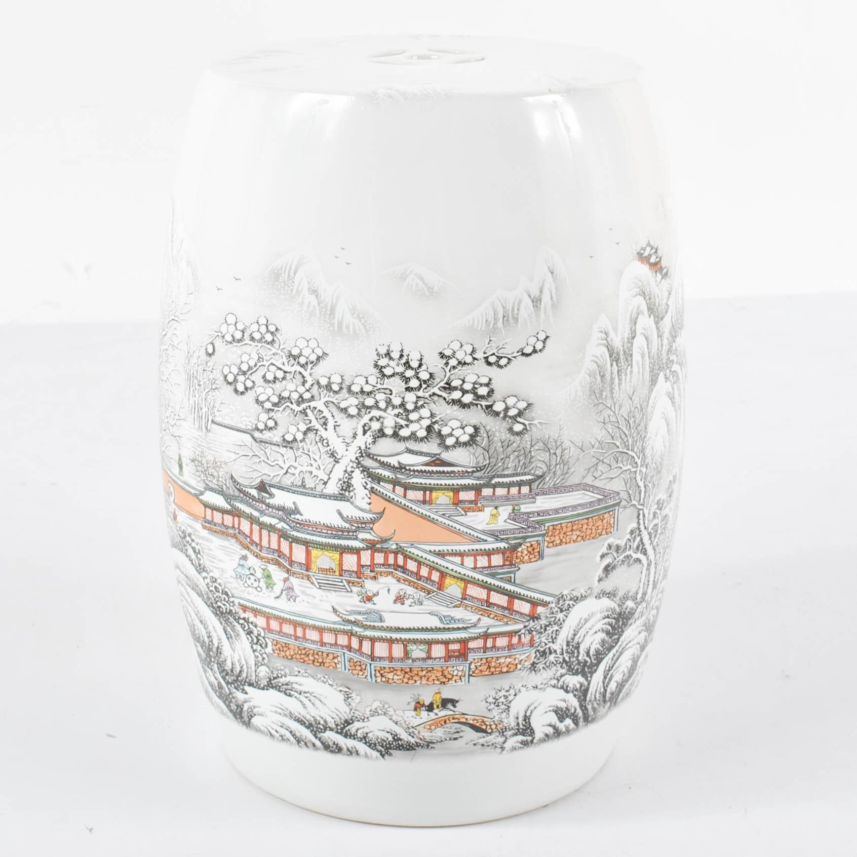 Chinese Ceramic Garden Stool Depicting Snowy Landscape