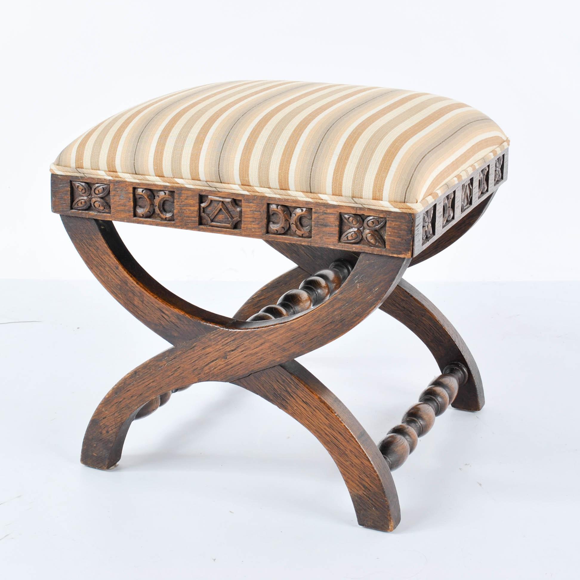 Carved Oak Curule Base Footstool