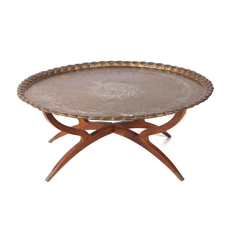 Vintage Mid Century Modern Brass Tray Top Coffee Table