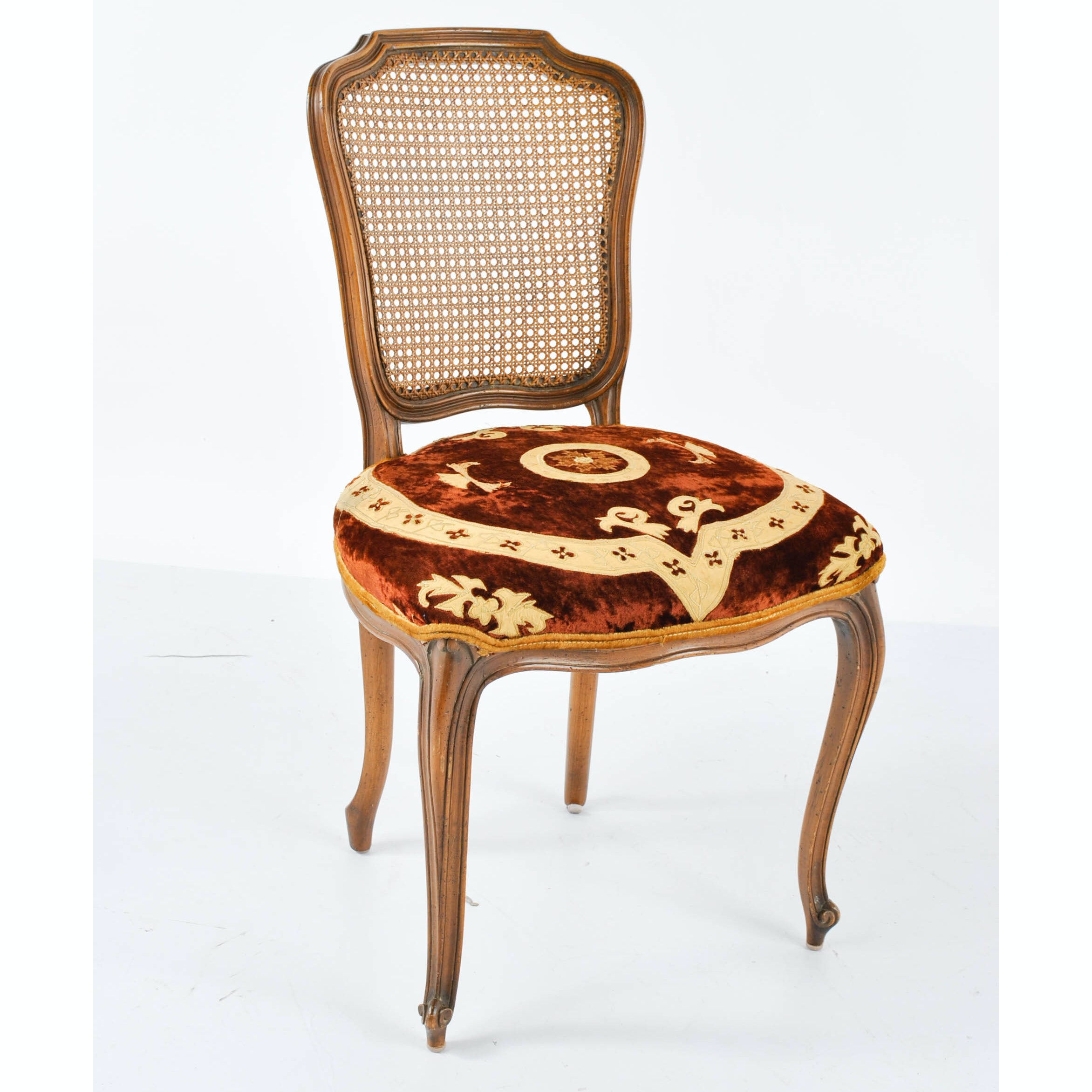 French Provincial Style Side Chair with Caned Back and Velour Seat