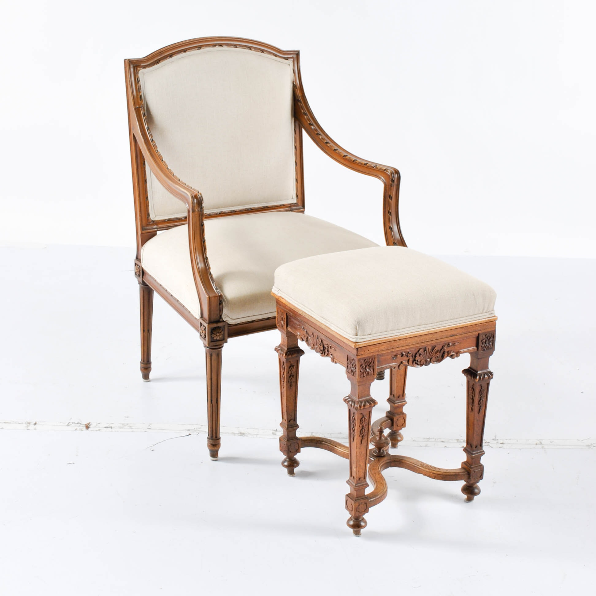 Vintage Louis XVI Style Armchair and Adjustable Stool