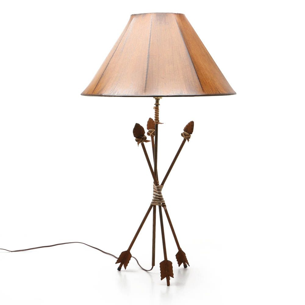 Southwestern Themed Cast Iron Three Arrow Table Lamp