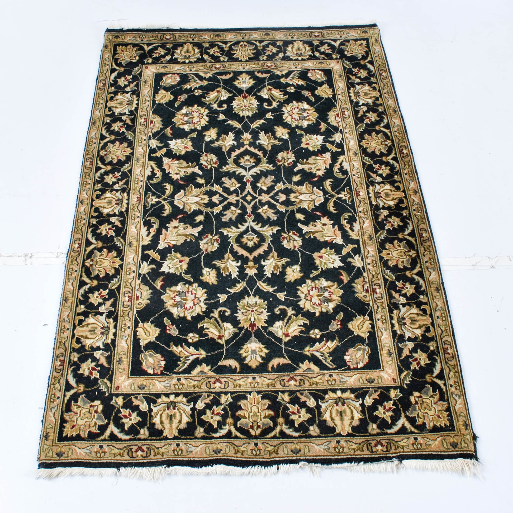 Hand-Knotted Indian Agra Wool Area Rug