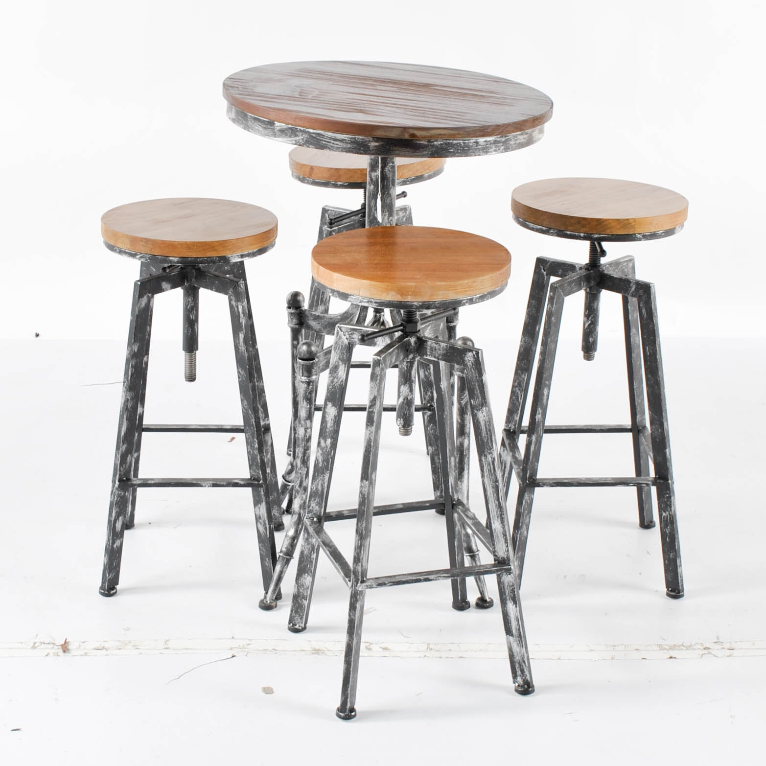 Industrial Style Bistro Table with Barstools