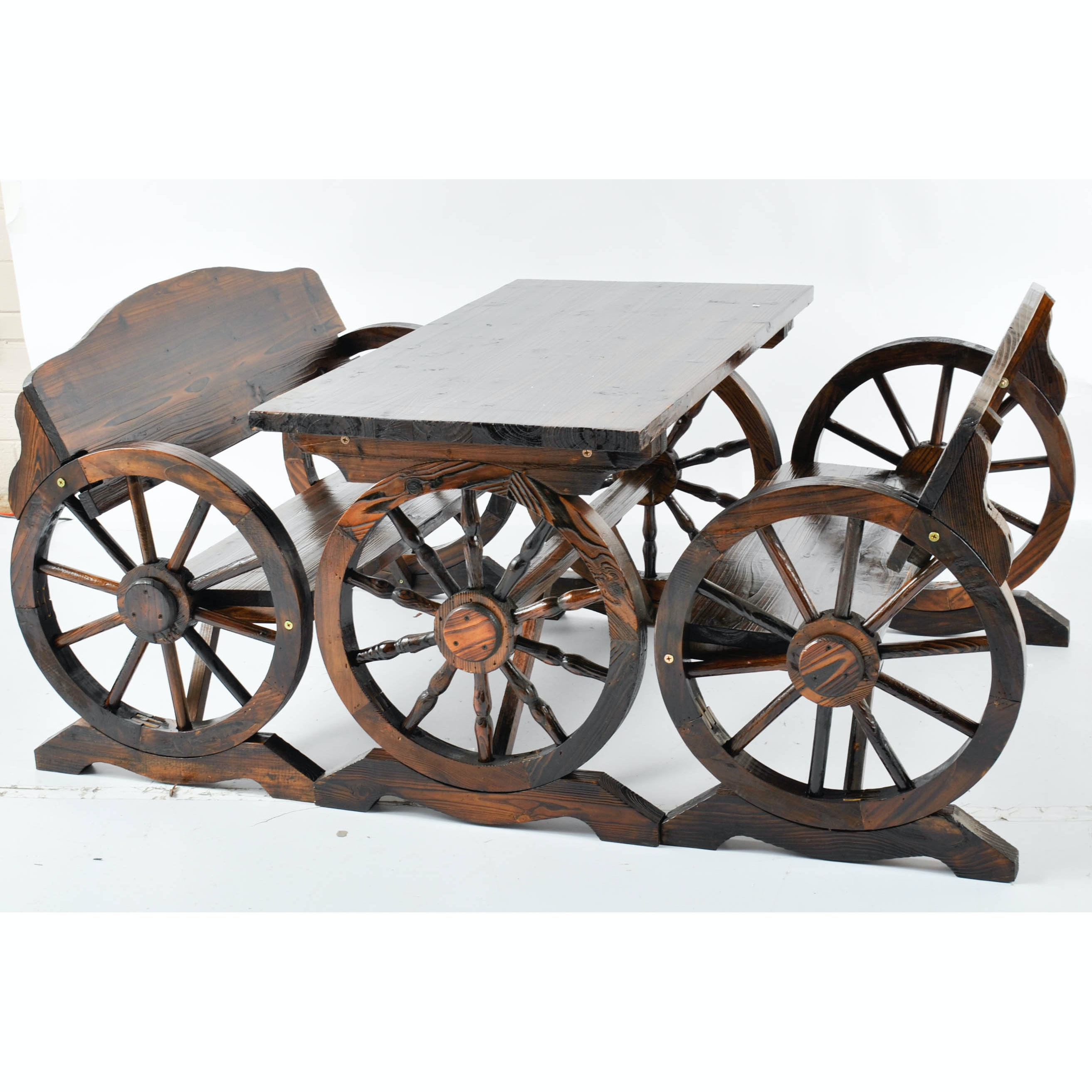 Stained Oak Wagon Style Table and Benches
