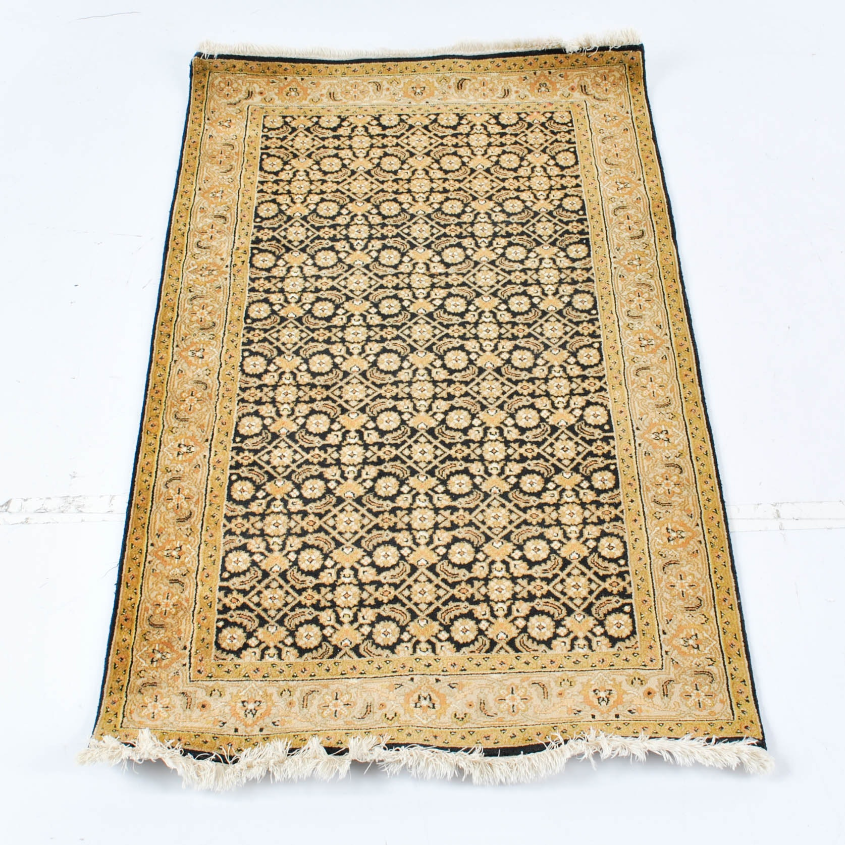Hand-Knotted Indo-Persian Herati Wool Accent Rug