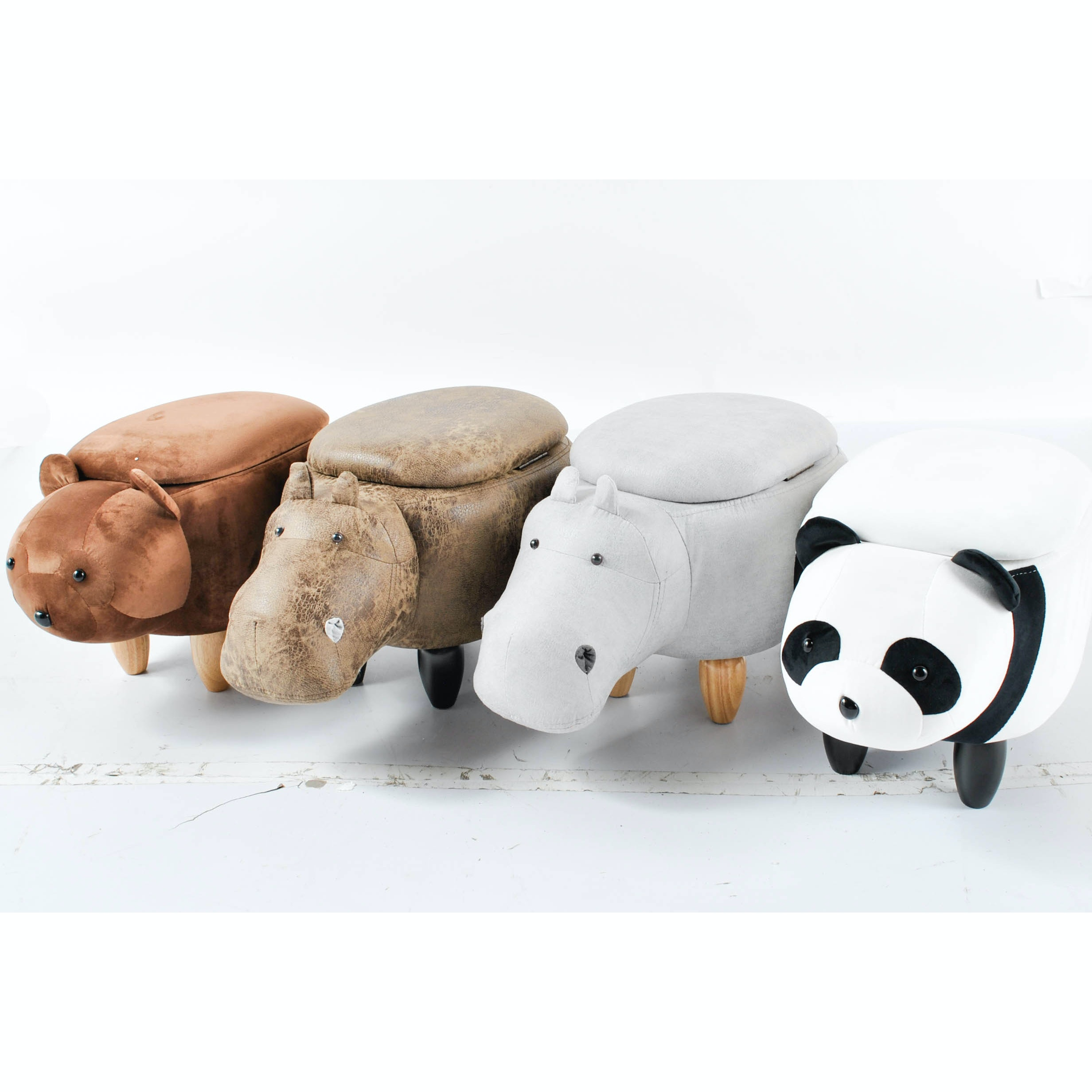 Rhino and Bear Storage Ottomans