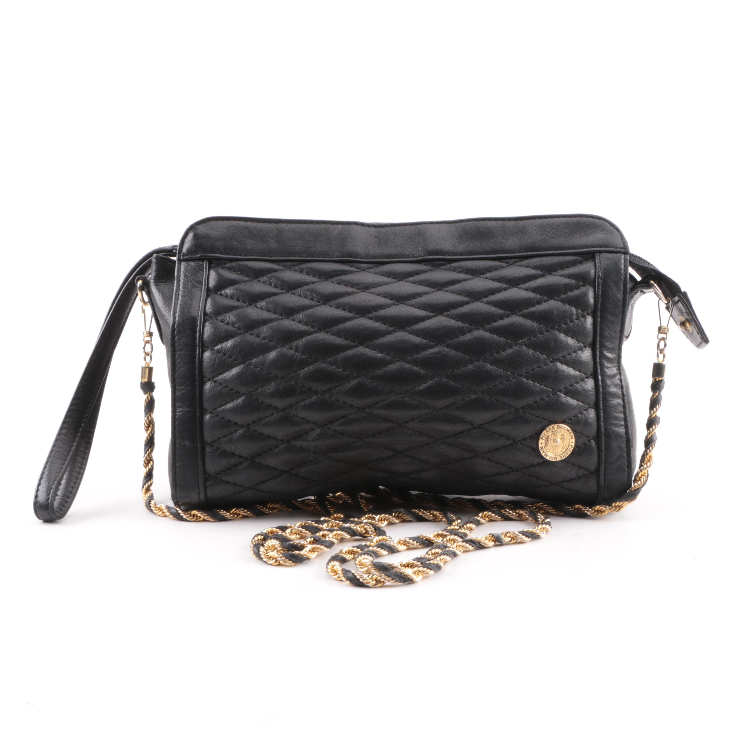 Vintage Pierre Balmain Black Quilted Leather Crossbody Bag