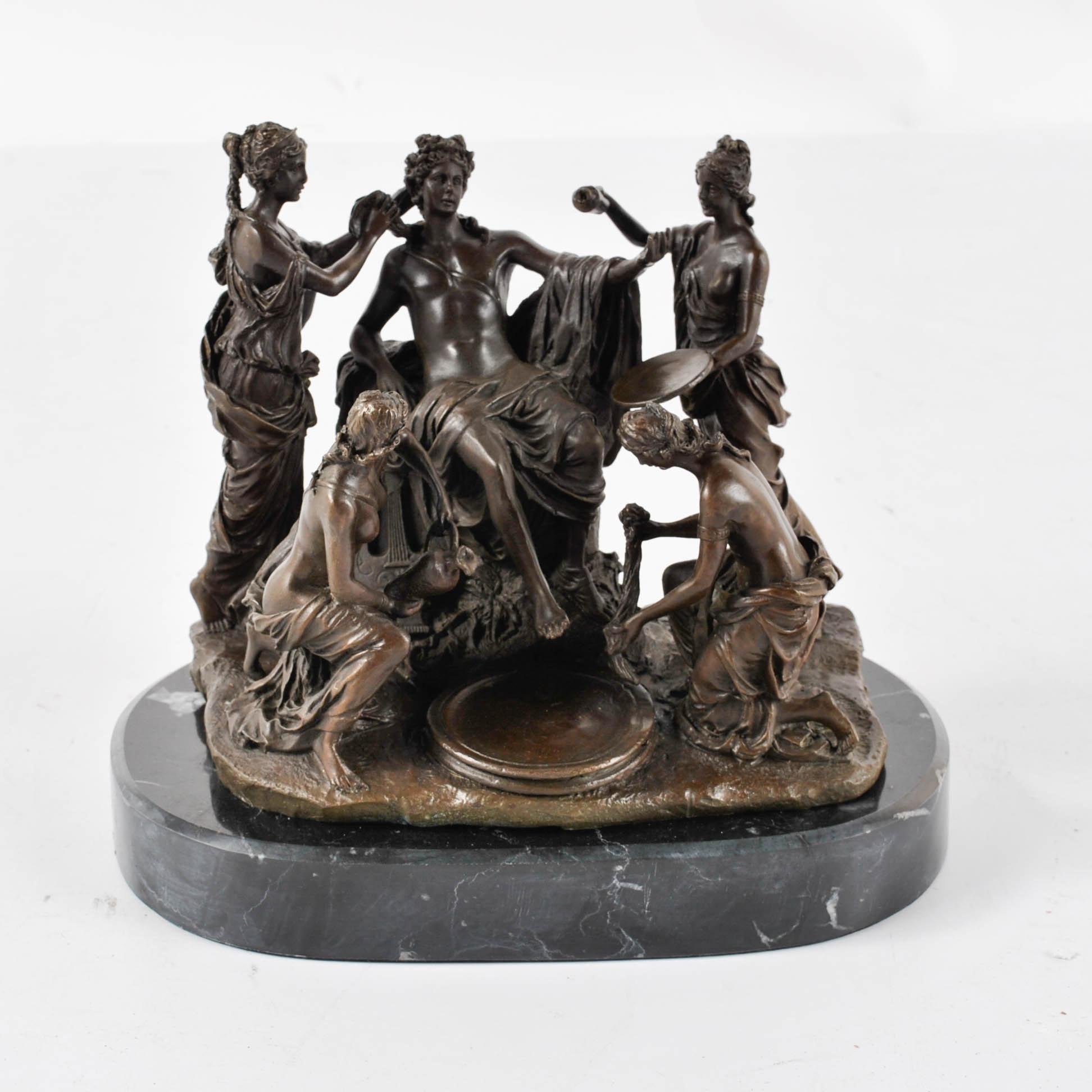 M. Mercie Reproduction Bronze Tone Metal Sculpture