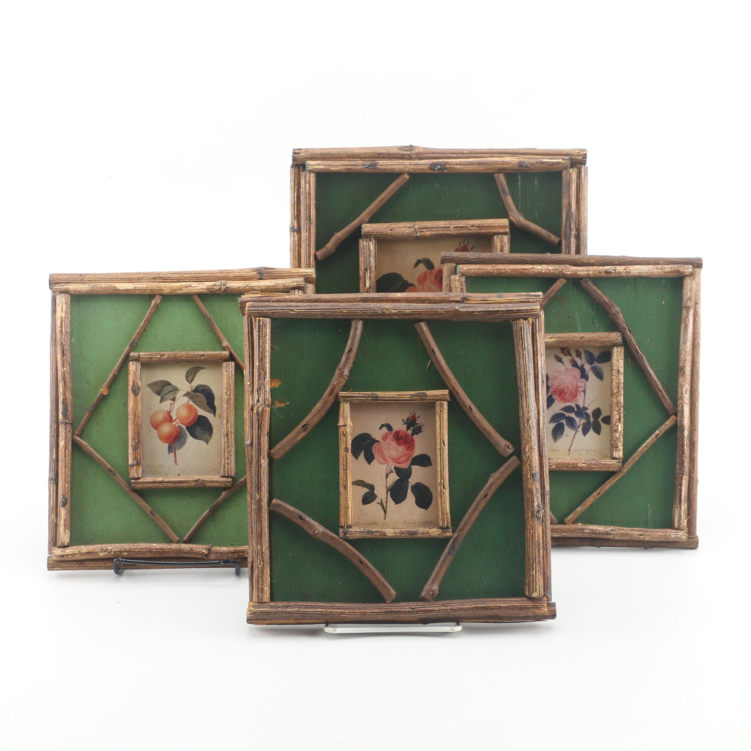 Offset Lithographs of Roses in Wooden Frames