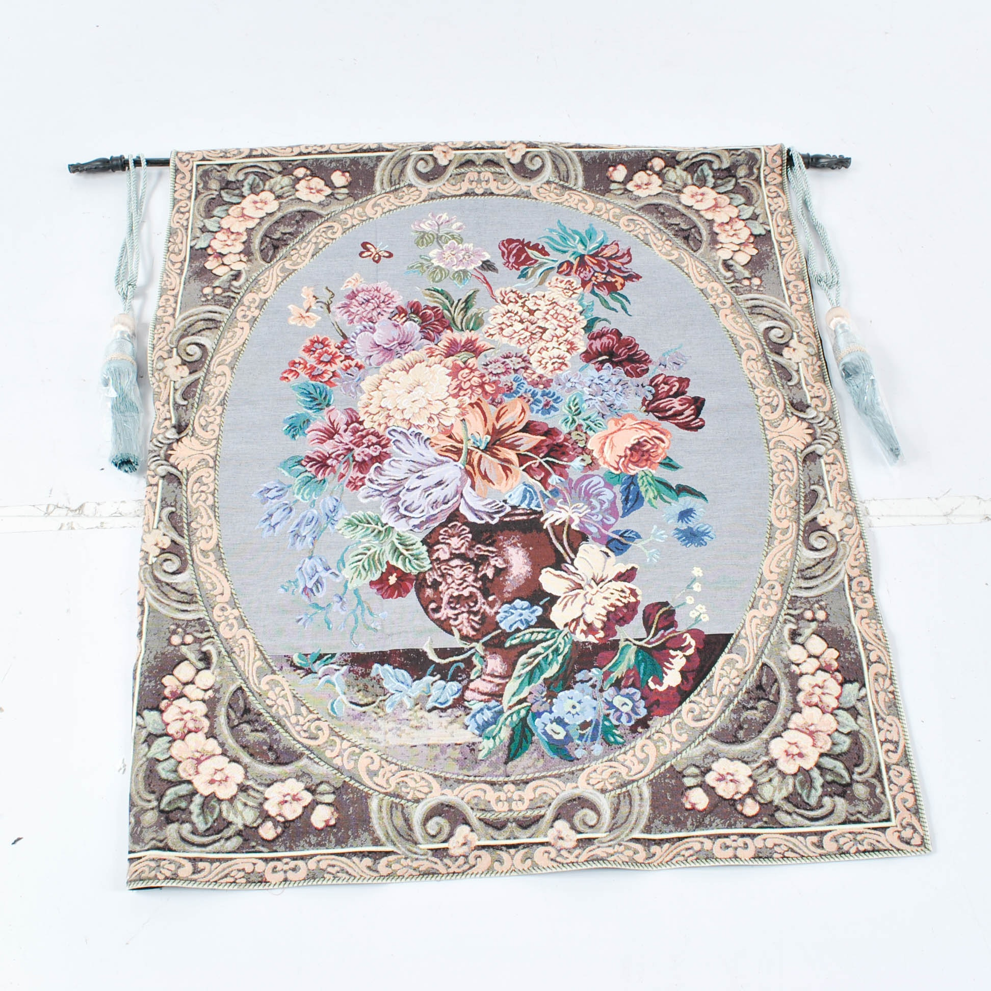 Machine Made Floral Still Life Hanging Tapestry