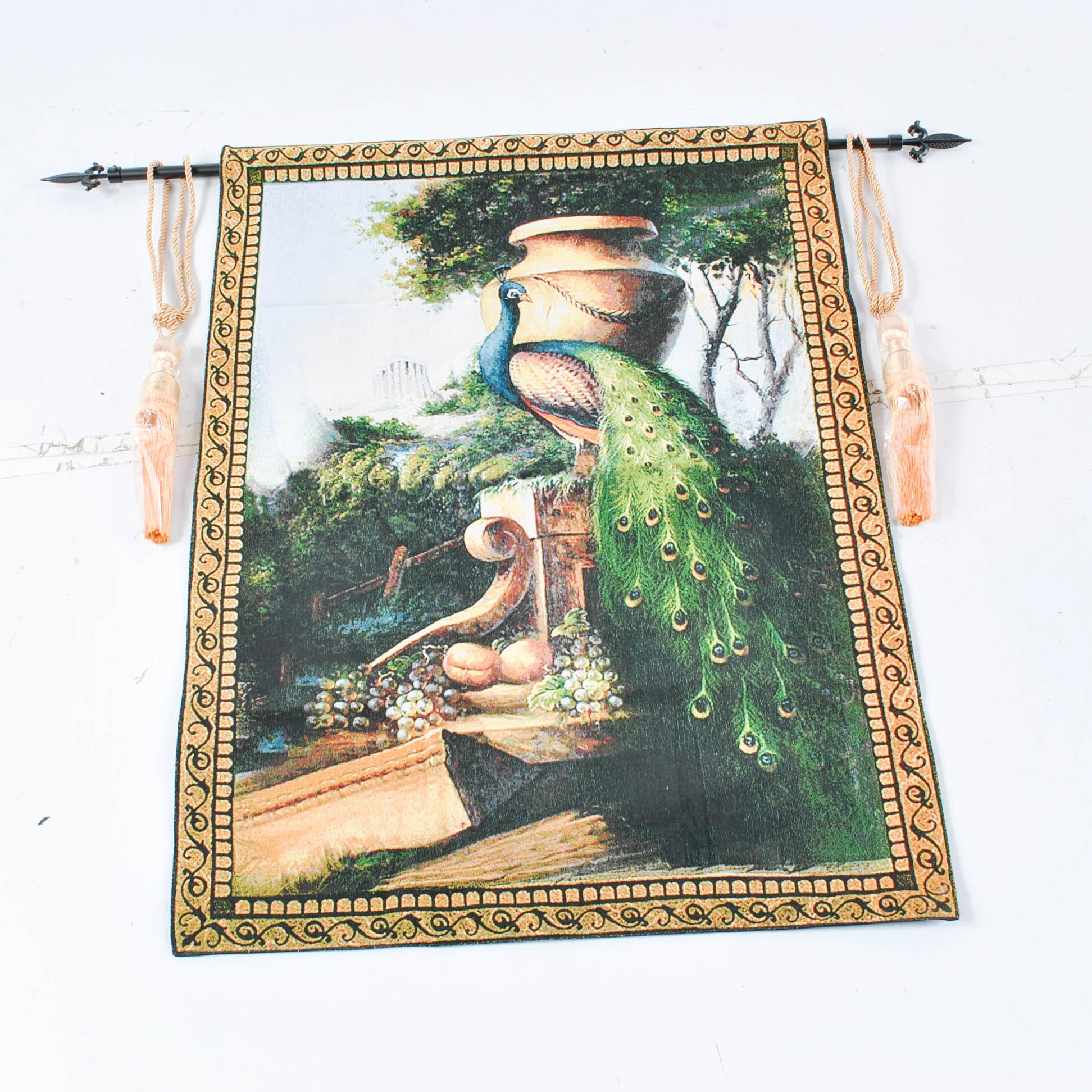 Machine Made Tapestry of Peacock