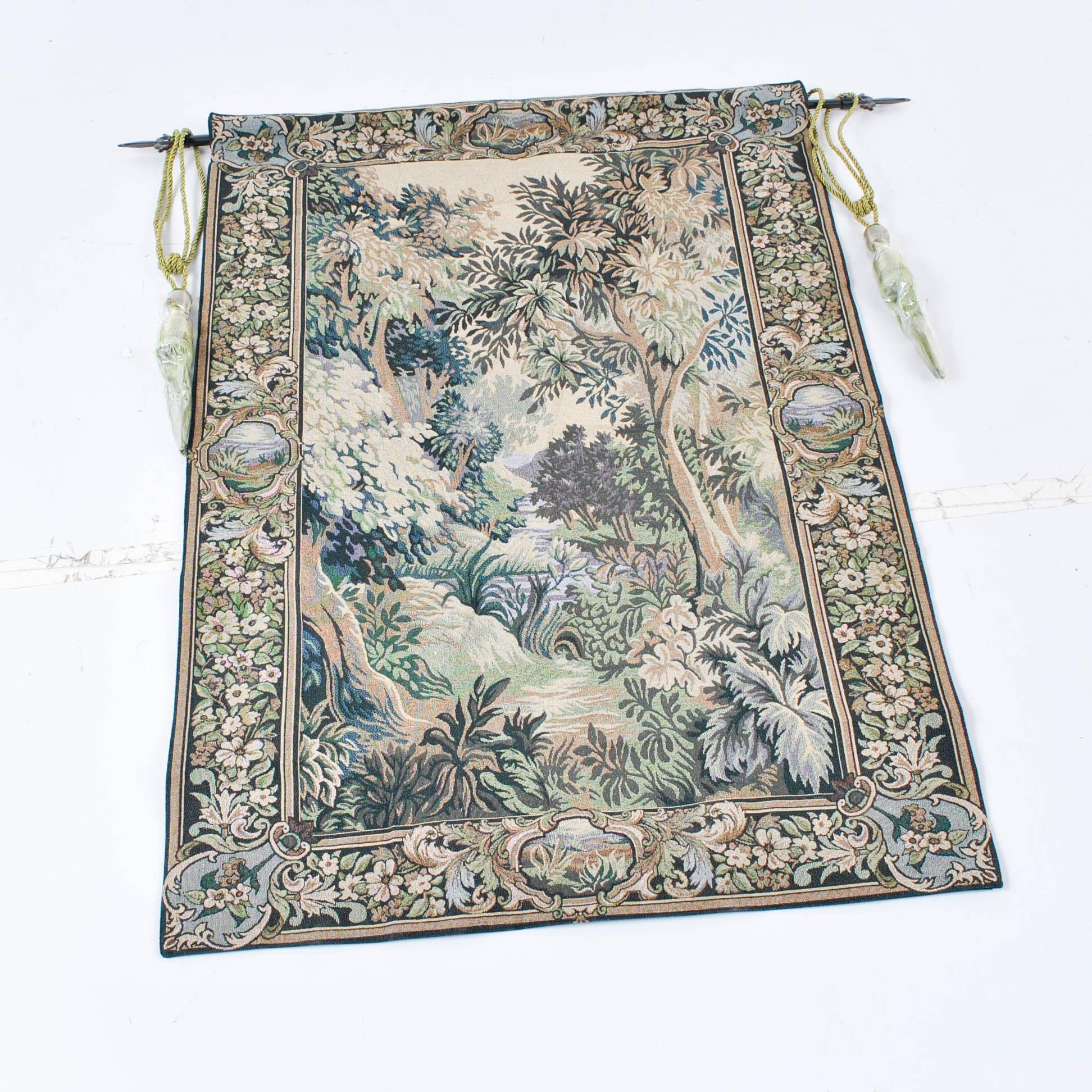 Machine Made Verdure Forest Landscape Tapestry