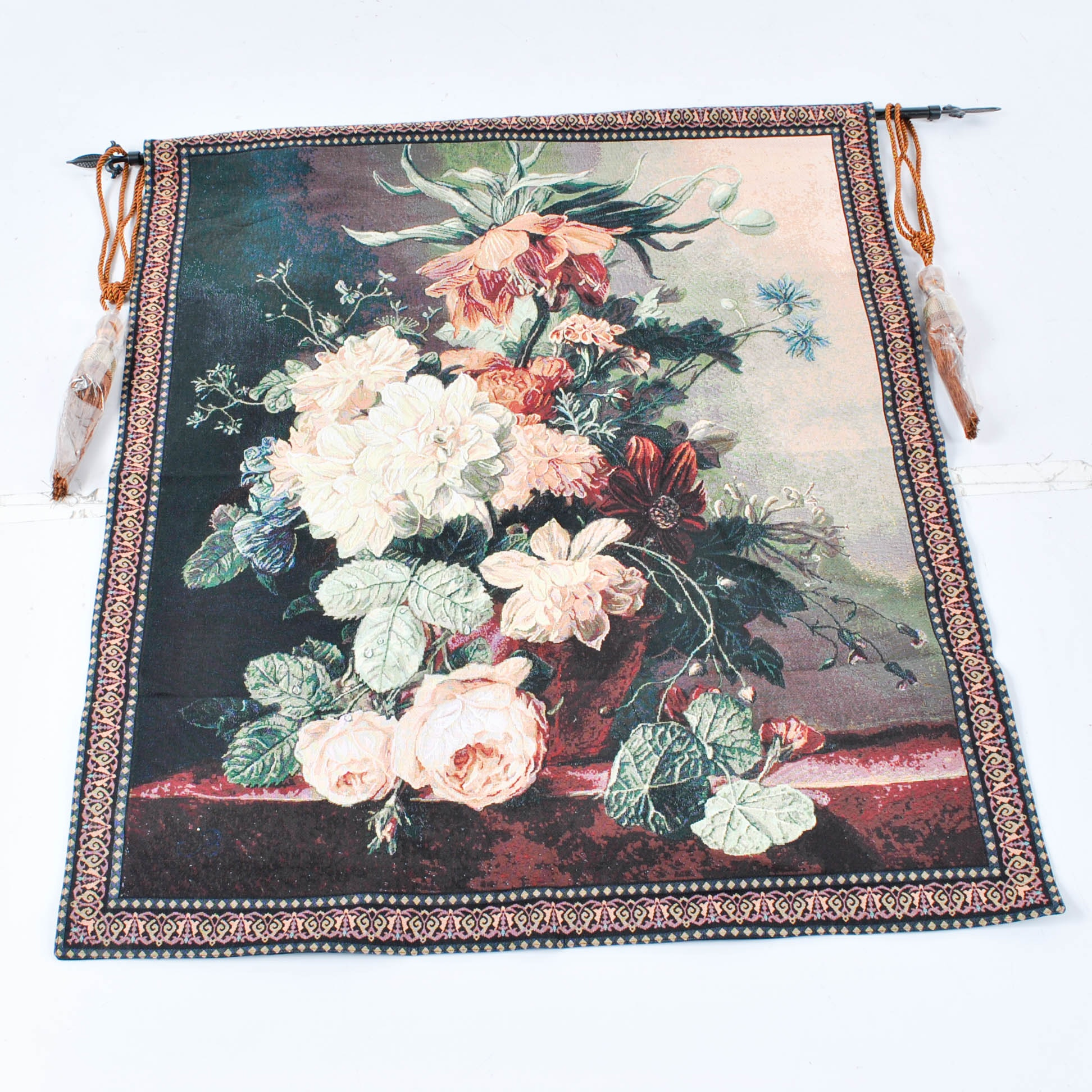 Machine Made Floral Still Life Tapestry