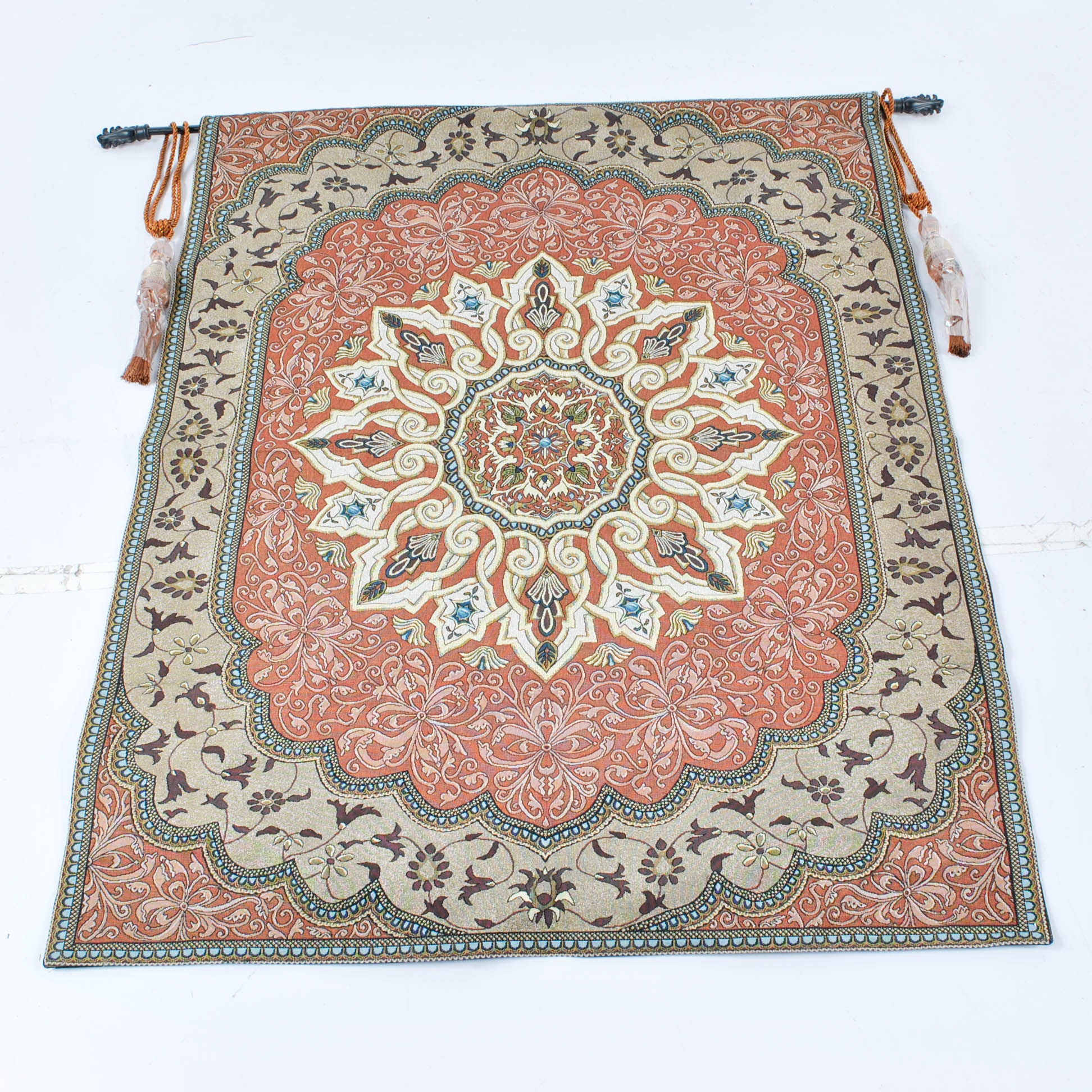 Machine Woven Persian Inspired Tapestry with Rod and Decorative Tassels