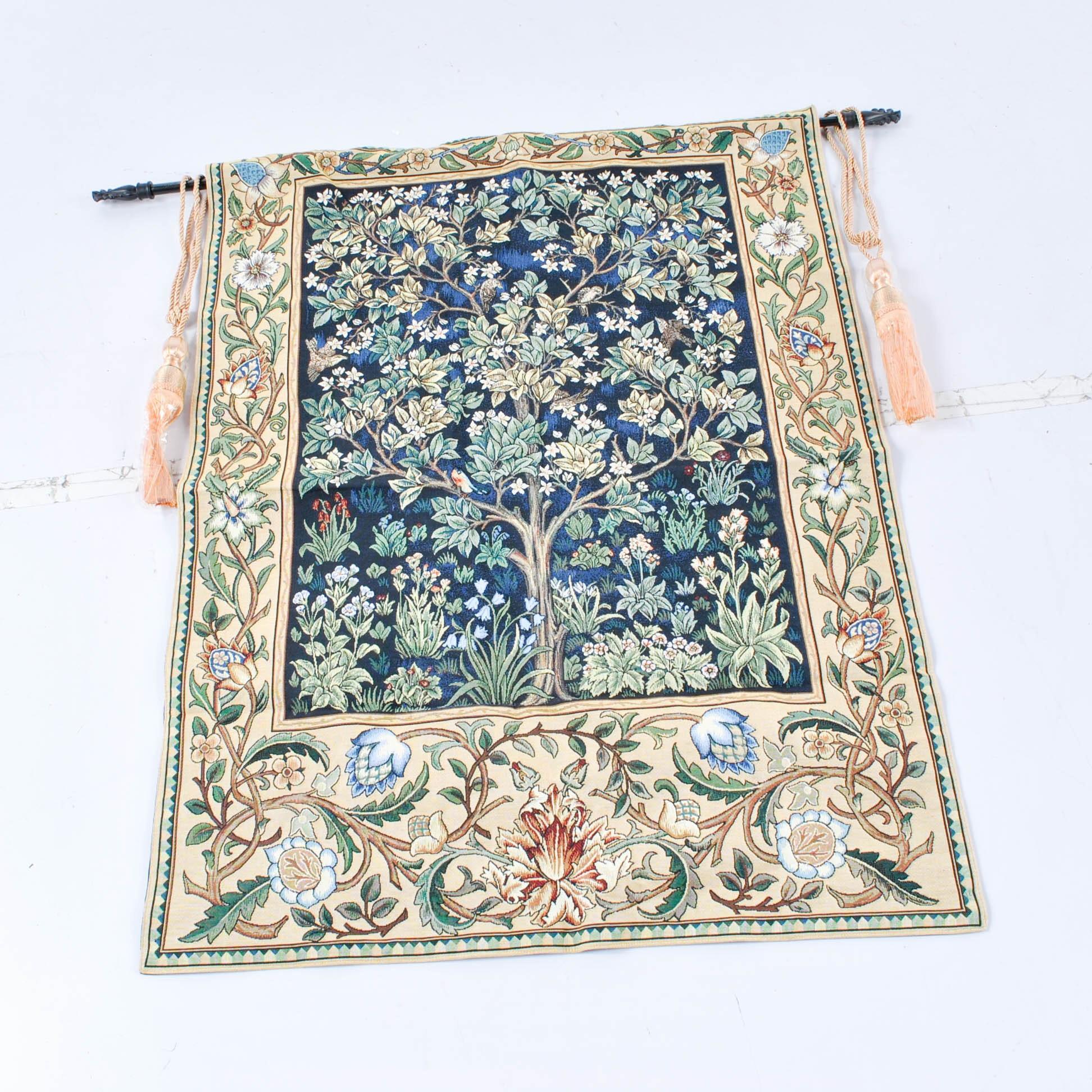 Machine Made Flowering Tree Tapestry