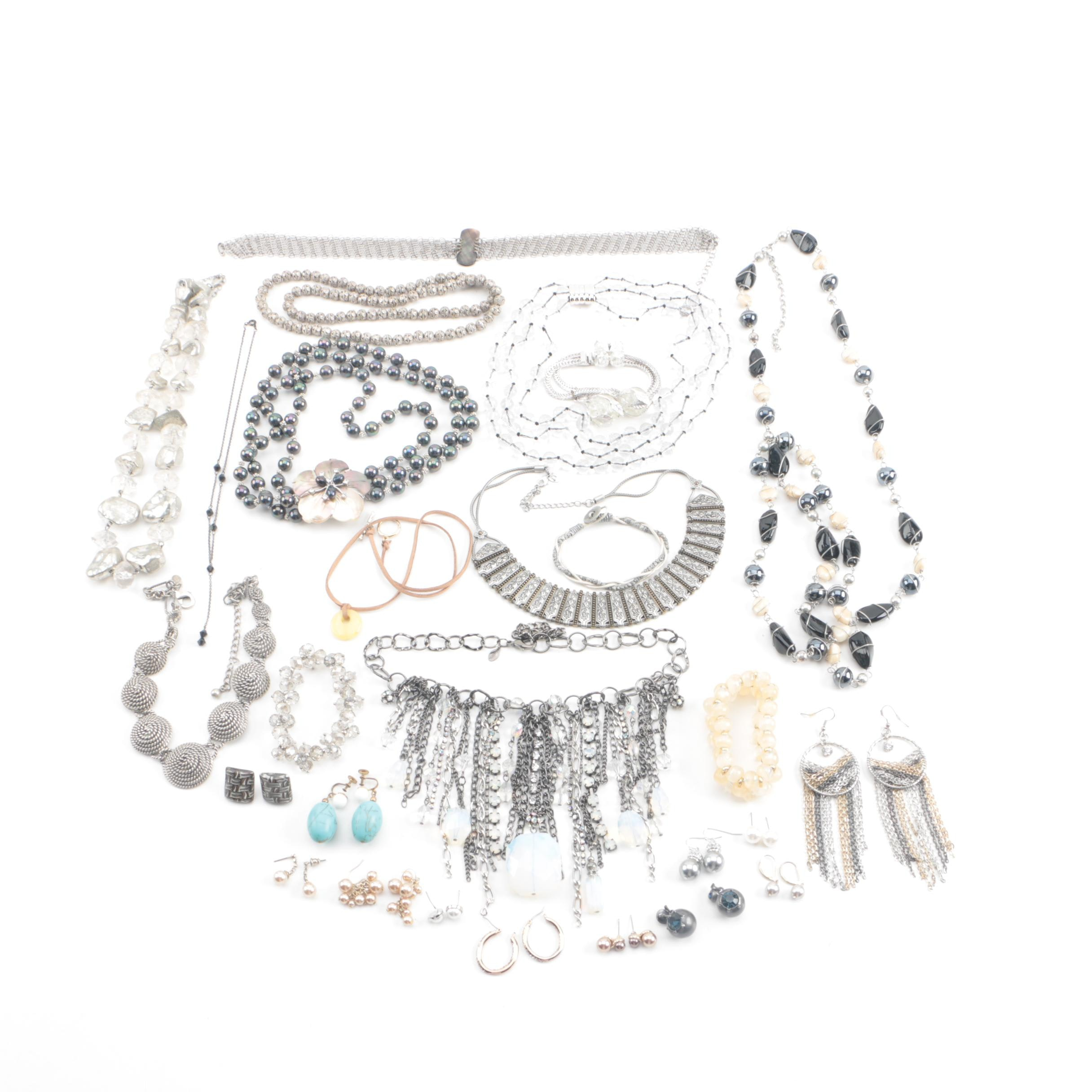 Jewelry Selection Including Imitation Pearl, Glass, Mother of Pearl and Enamel