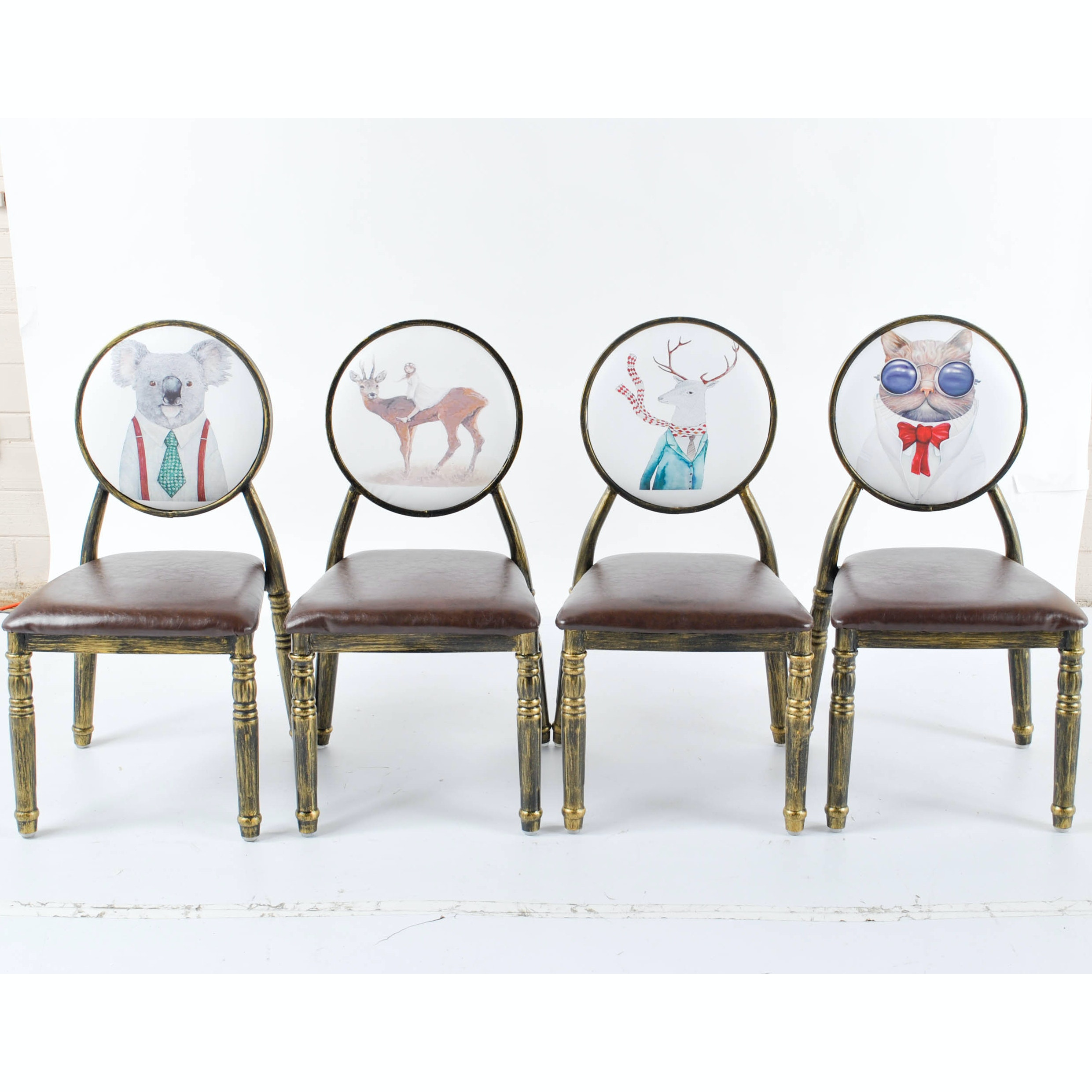 Contemporary Vinyl Upholstered Side Chairs with Novelty Animal Prints