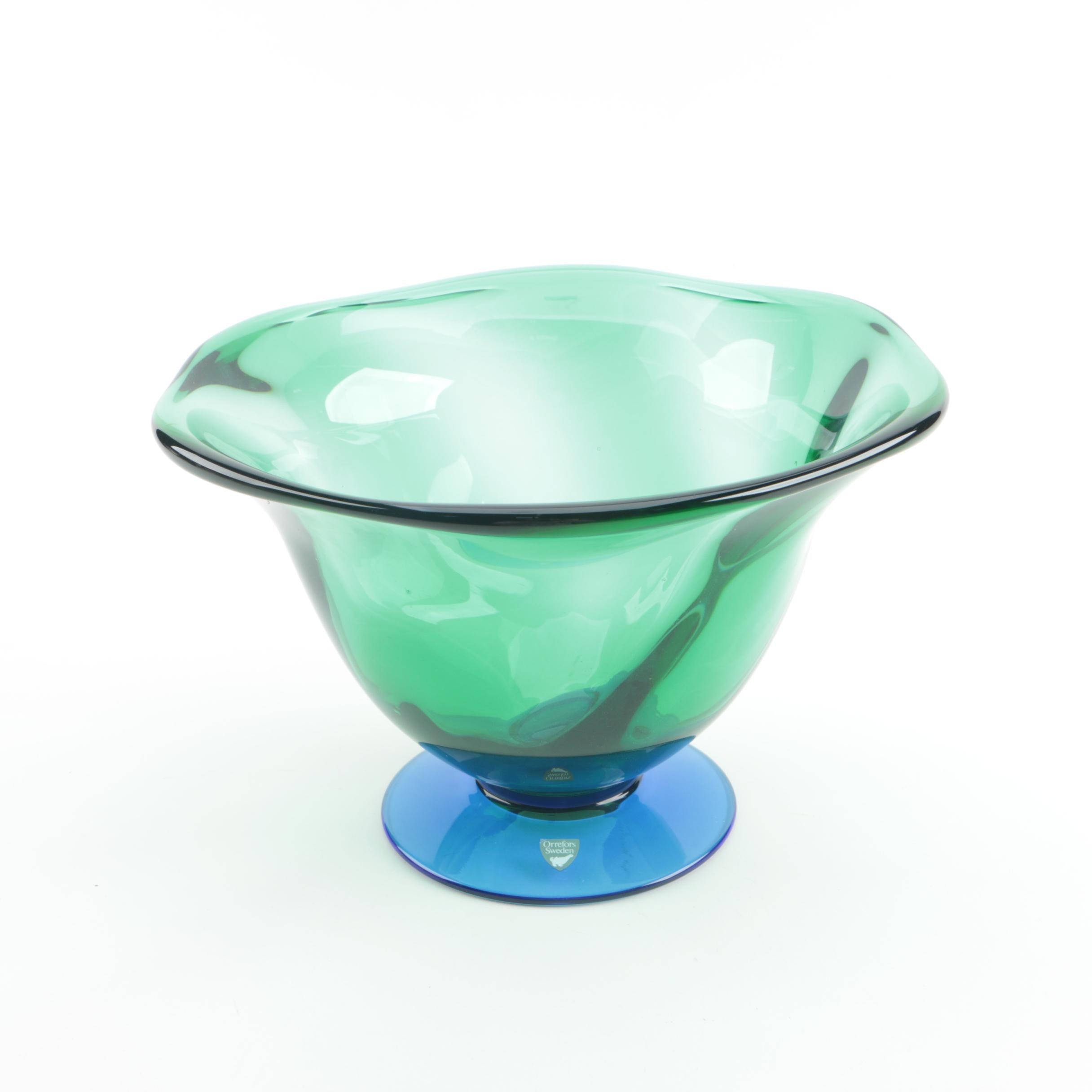 "Orrefors ""Louise"" Art Glass Footed Bowl by Erika Lagerbielke"
