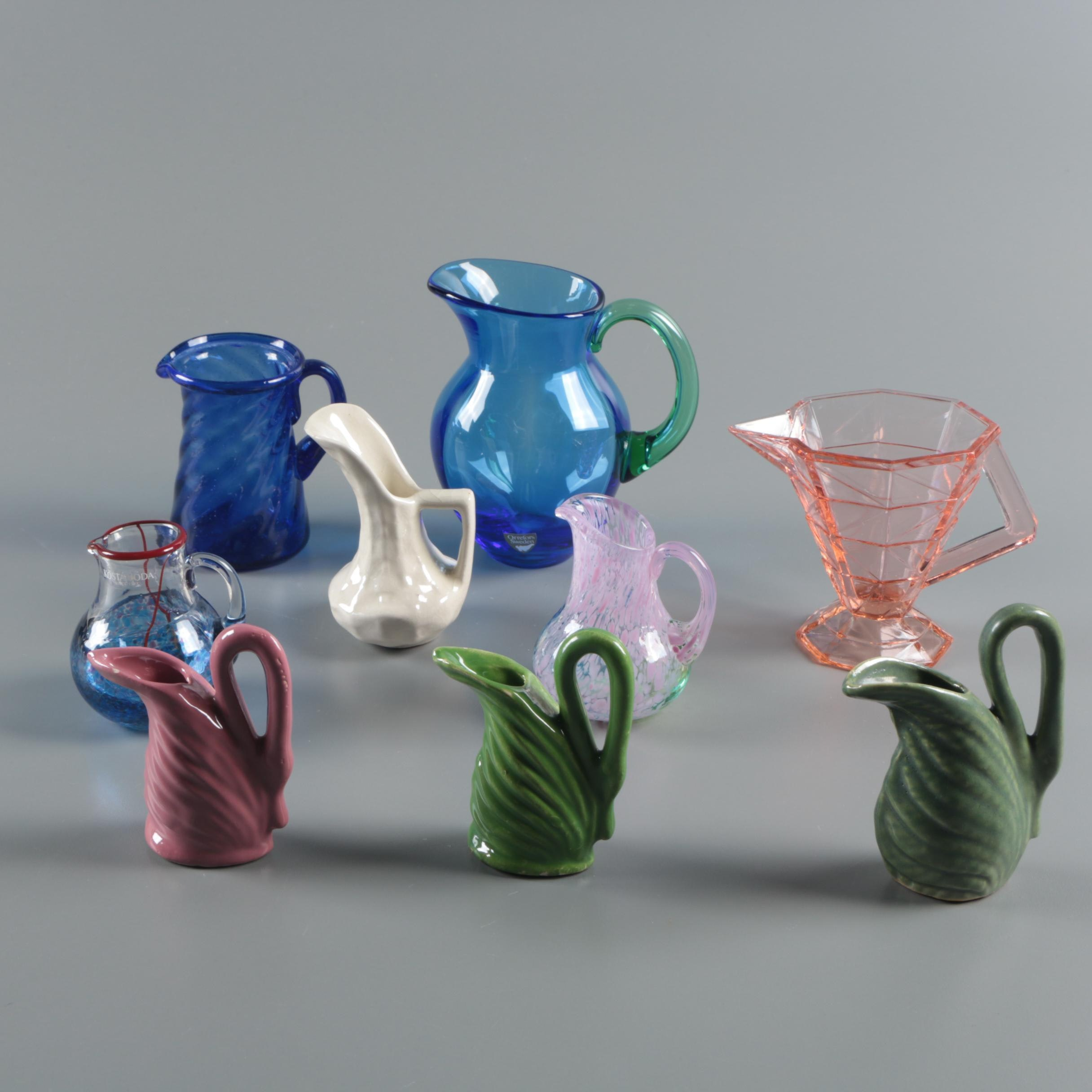 Pitchers Including Kosta Boda and Orrefors Art Glass