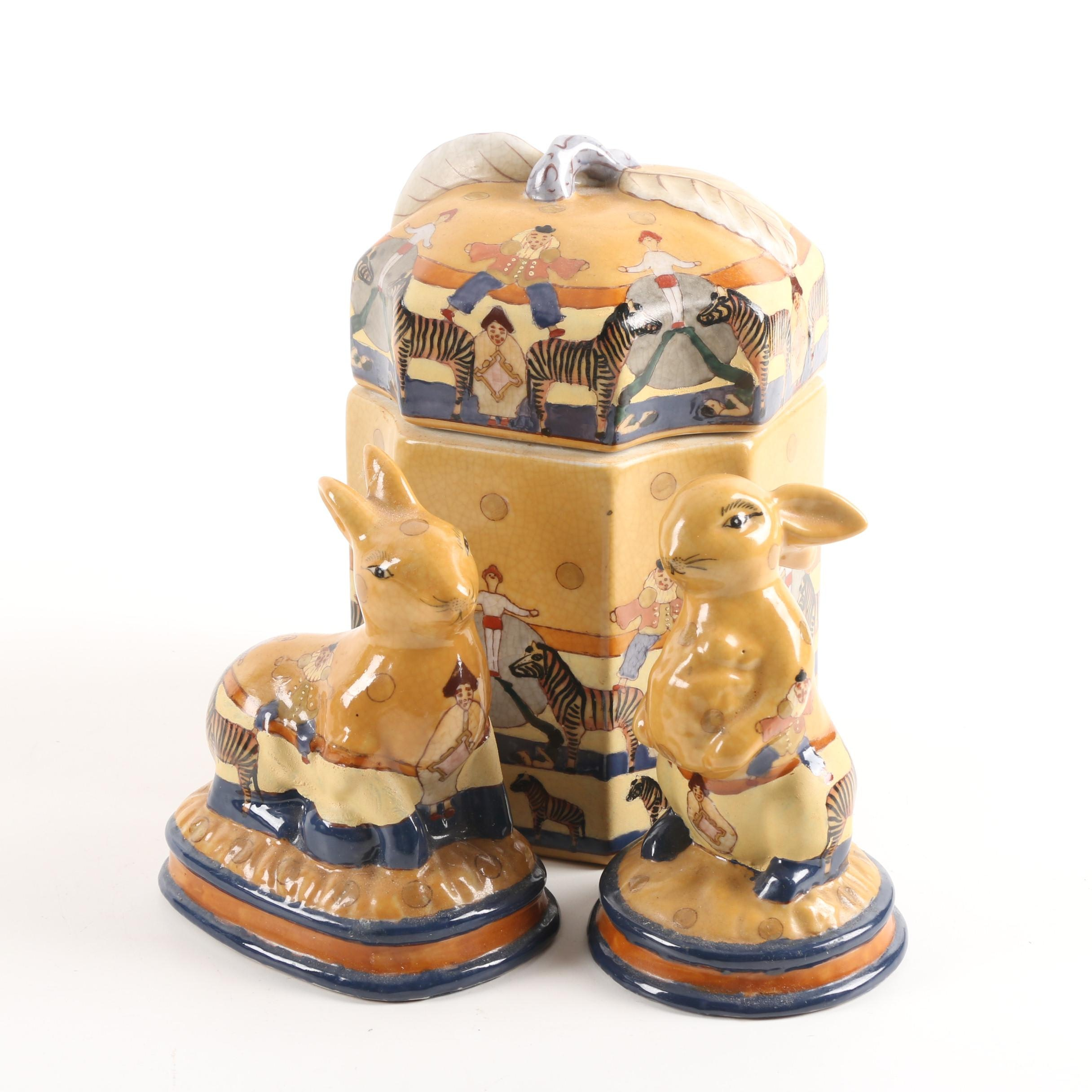 Contemporary Circus Themed Rabbit Ceramic Figurines and Decorative Canister