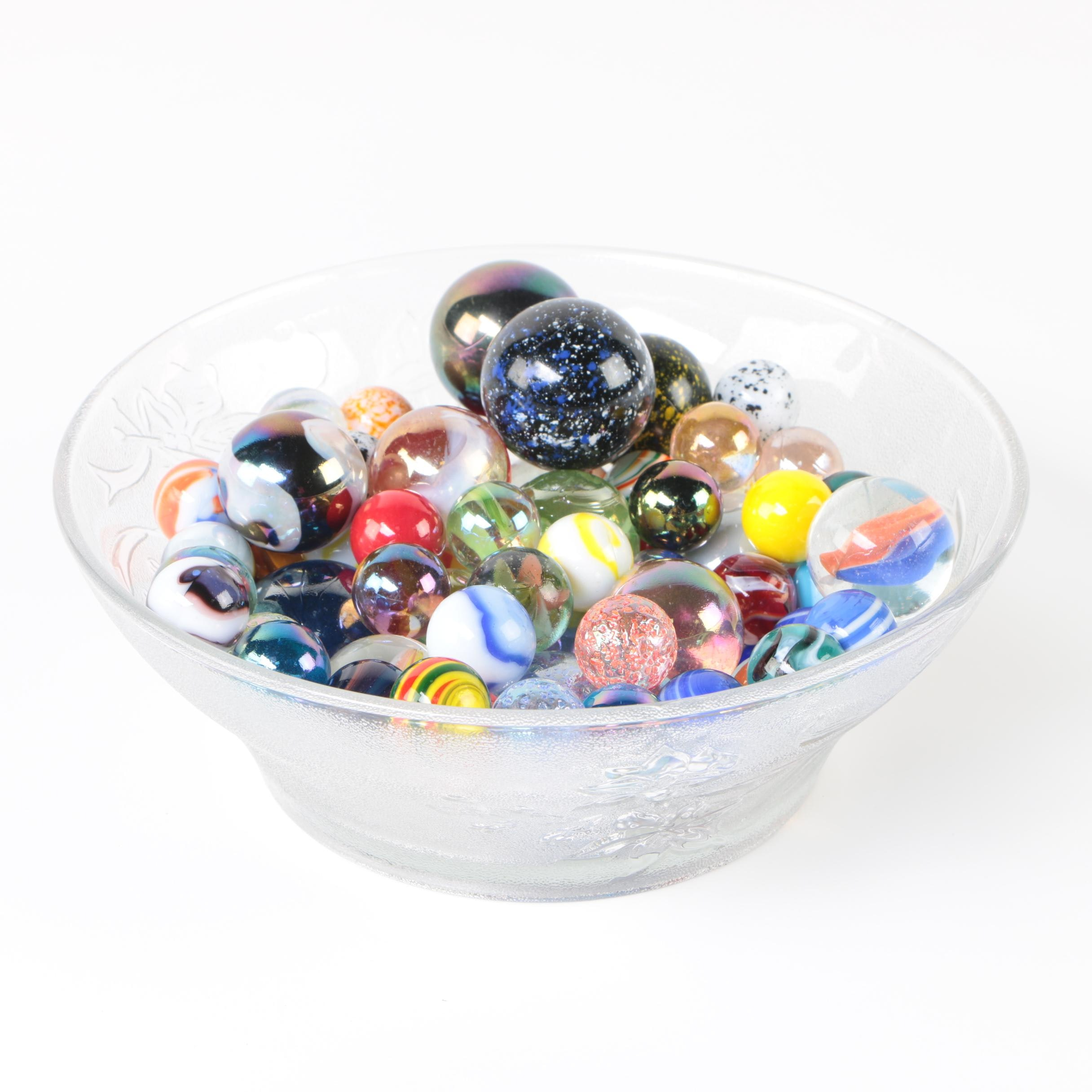 Vintage Glass and Ceramic Marbles with Etched Glass Bowl