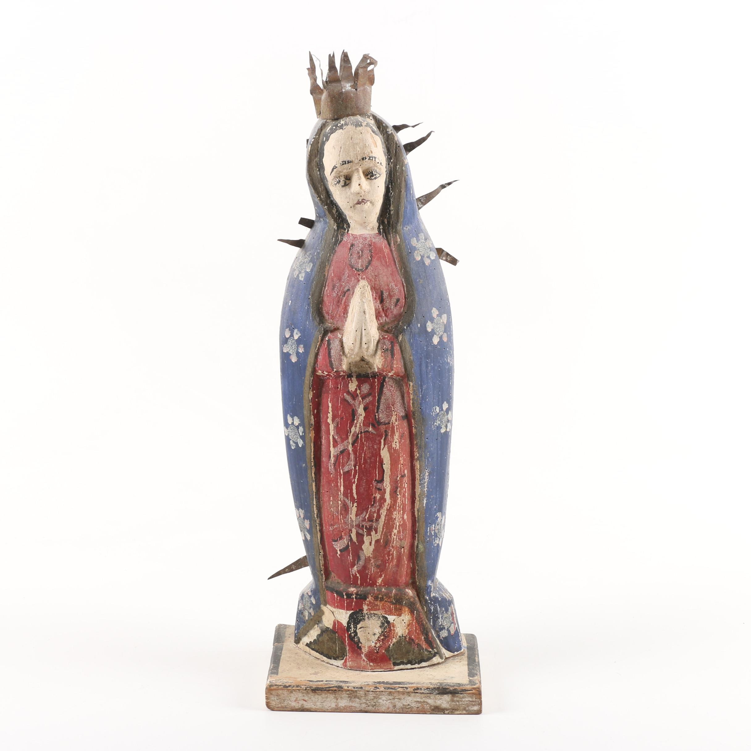 Mexican Style Polychrome Folk Art Madonna Sculpture