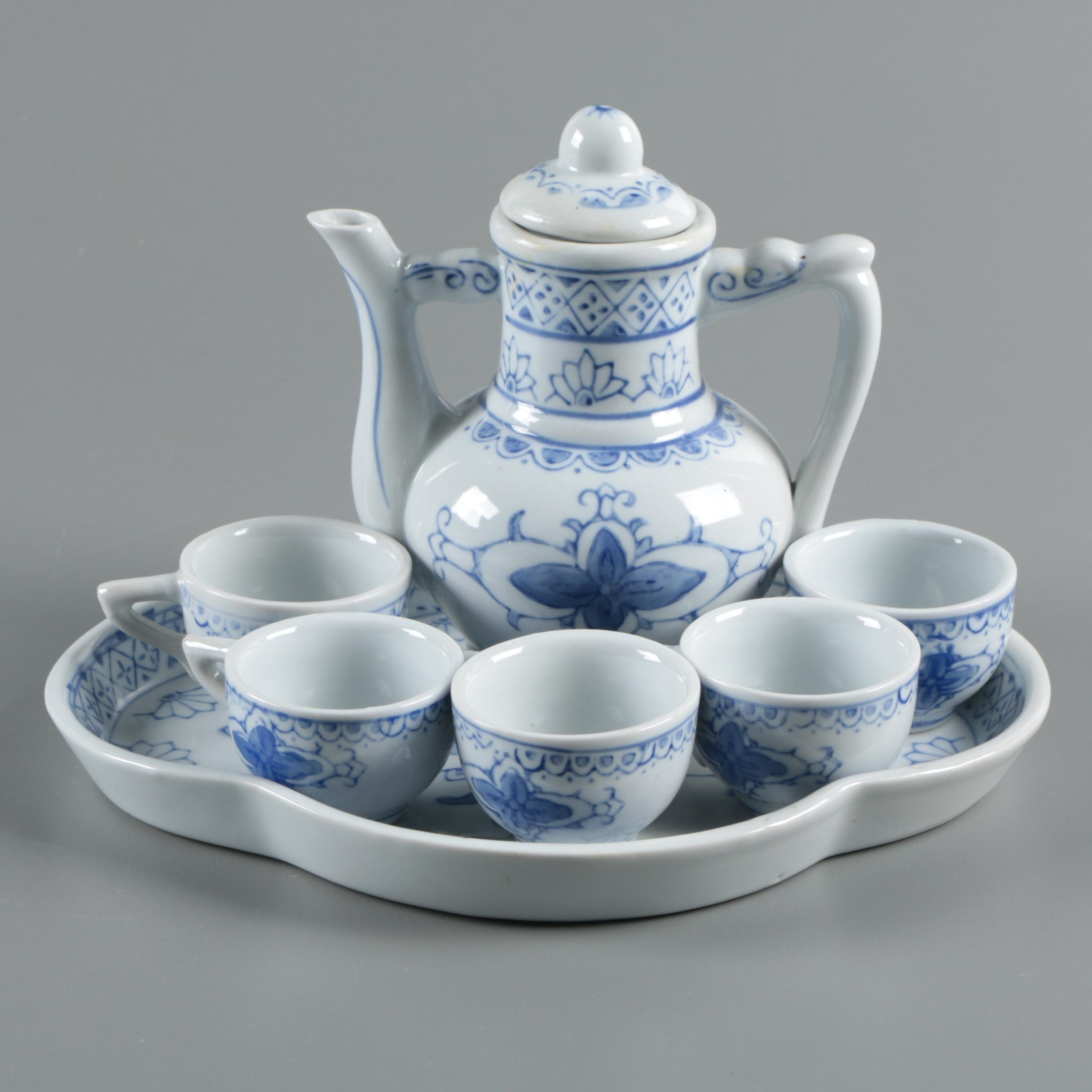 Chinese Porcelain Demitasse Tea Set with Blue and White Floral Pattern