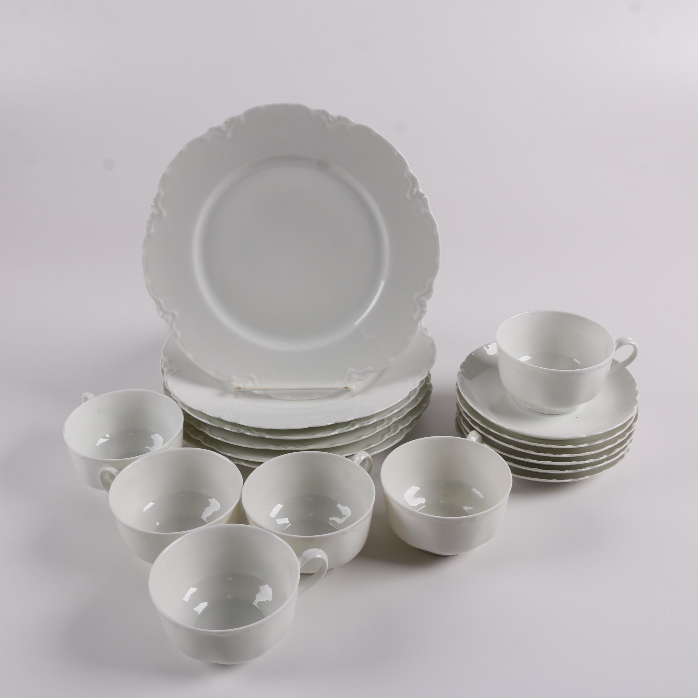 Vintage Haviland Whiteware Porcelain Salad Plates, Cups, and Saucers