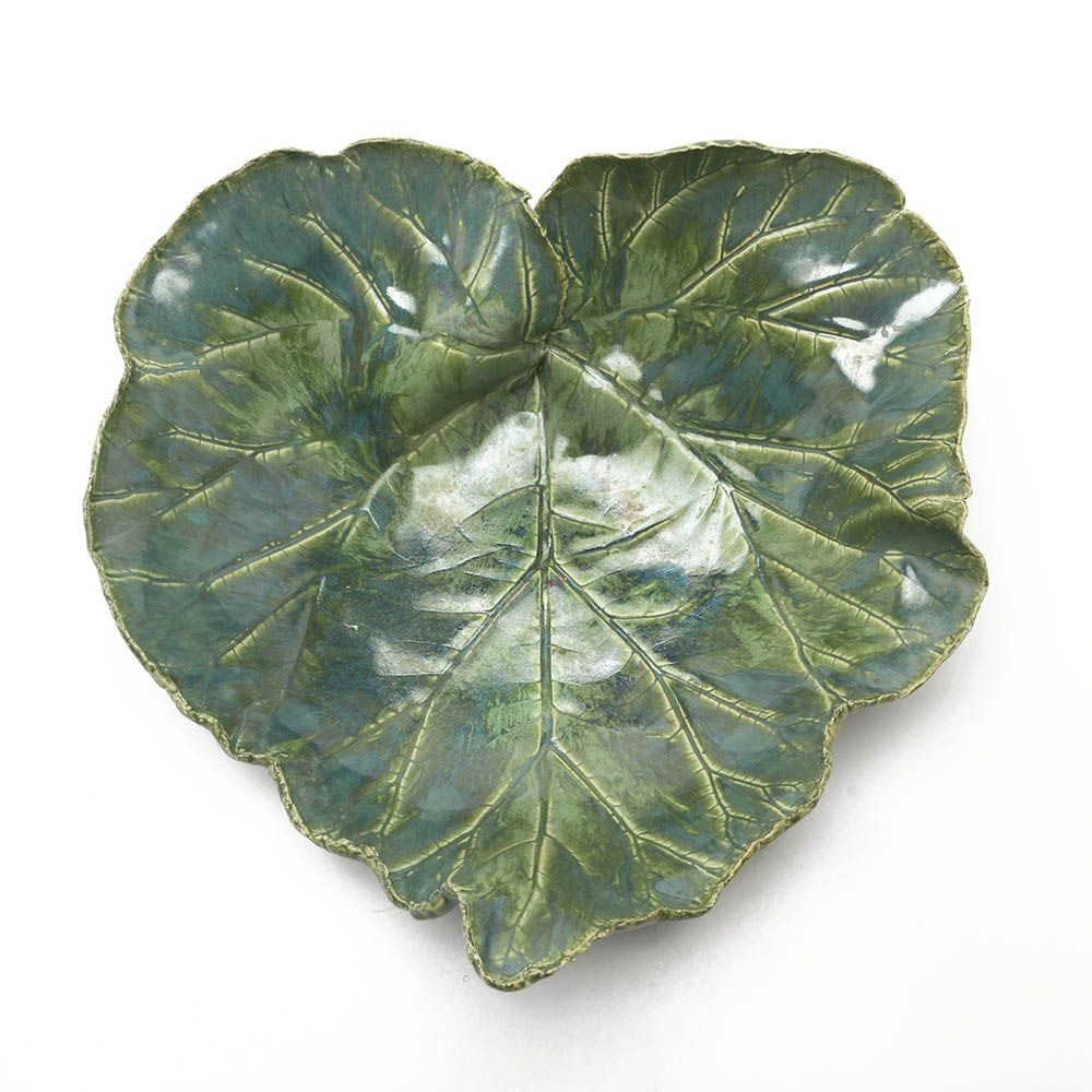 Large Majolica Style Pottery Leaf Bowl