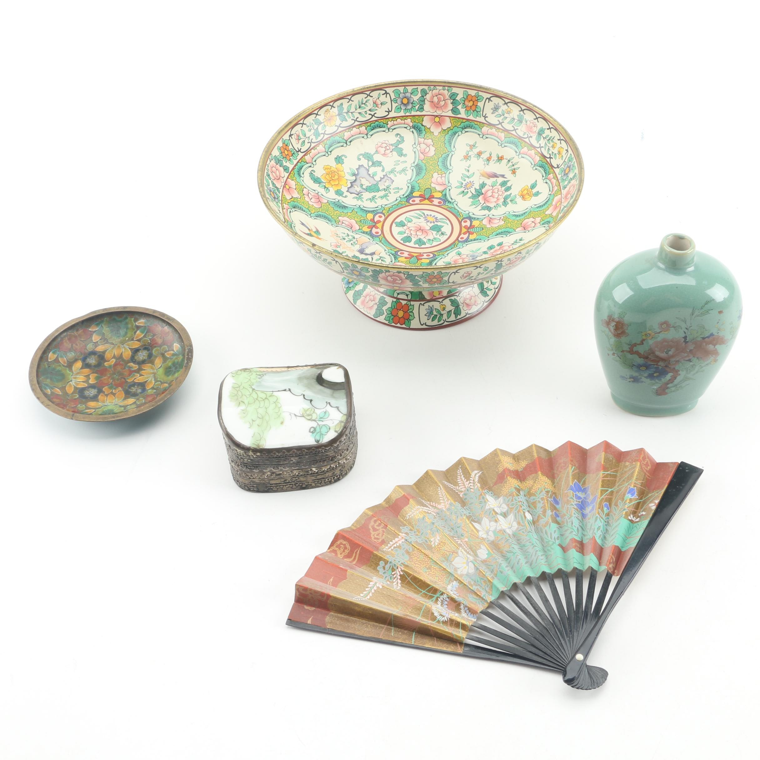 "Baret Ware ""Ming"" Compote with Chinese Cloisonné Dish and Decor"
