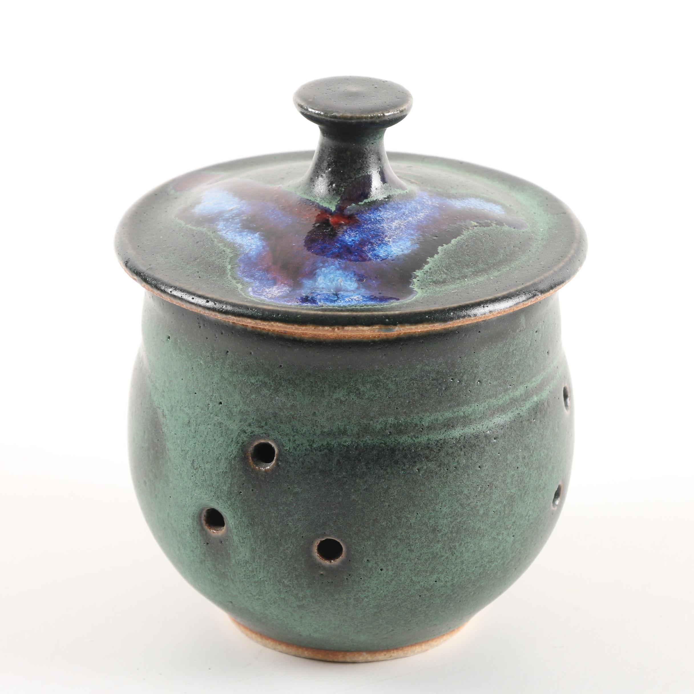 Contemporary Stoneware Garlic Jar