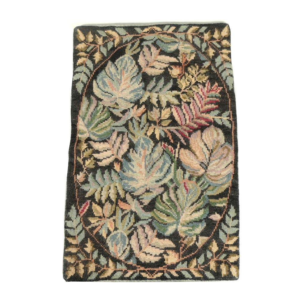 Needlepoint Foliate Themed Wool Accent Rug