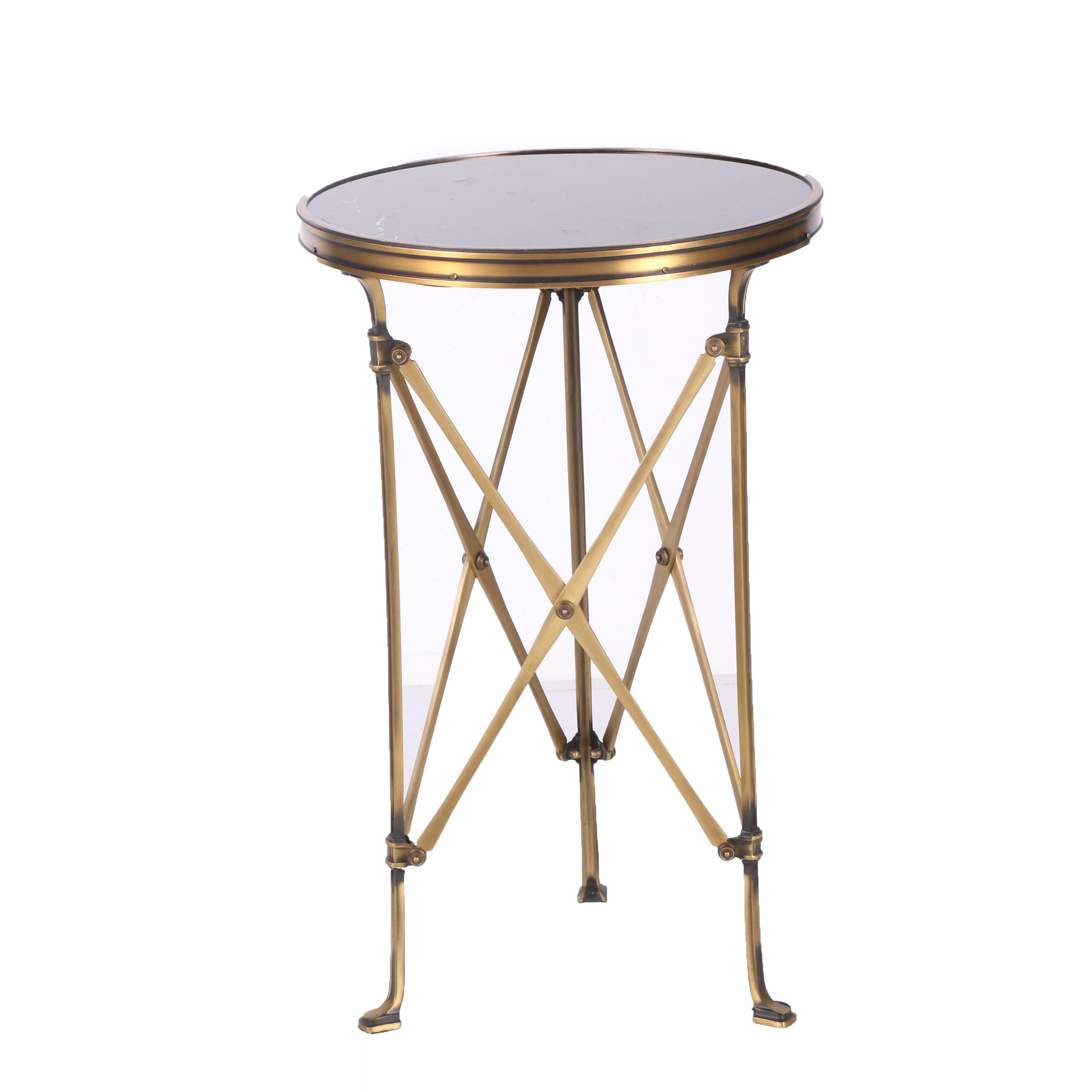 Brass Accent Table with Circular Glass Top