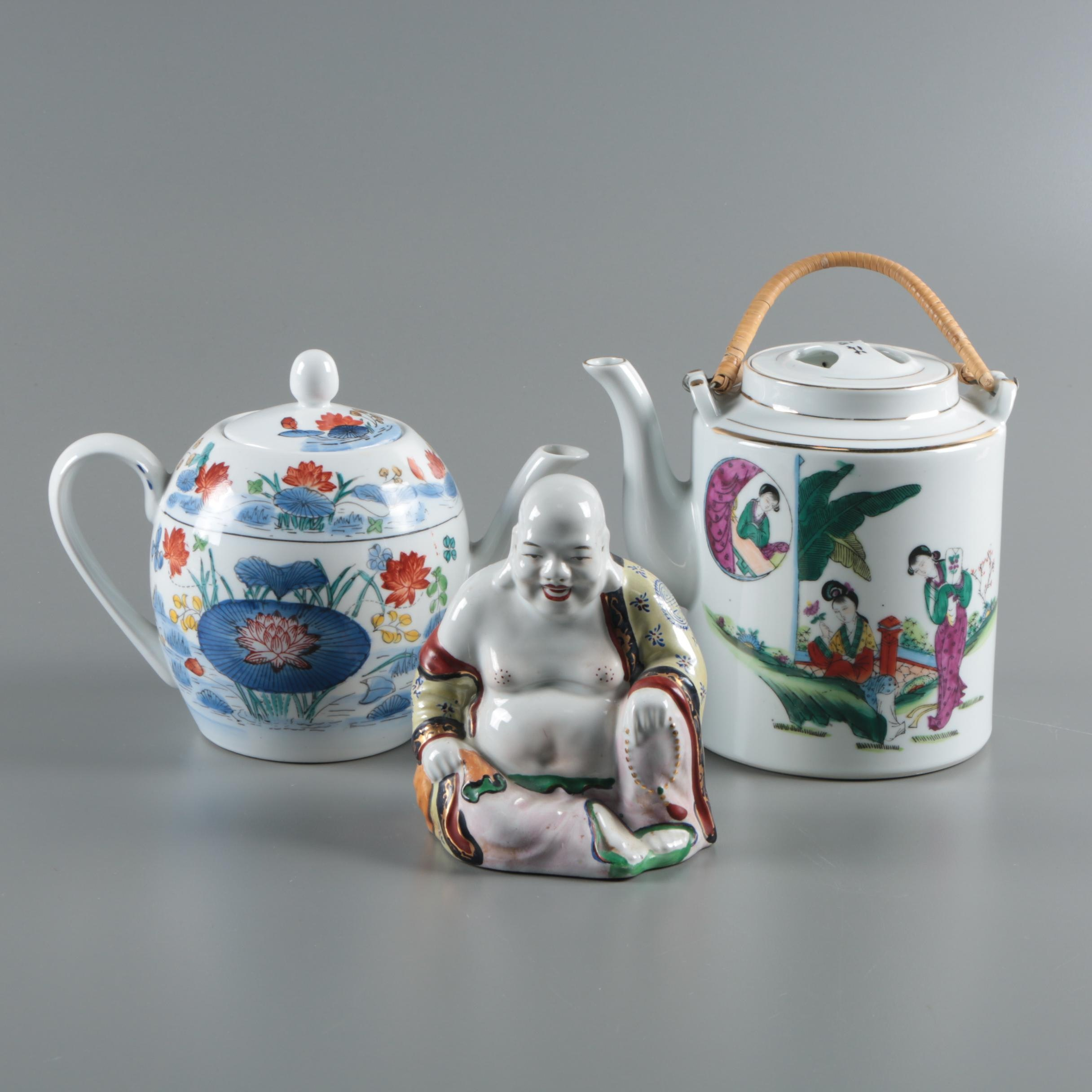 Chinese Teapots and Budai Figurine